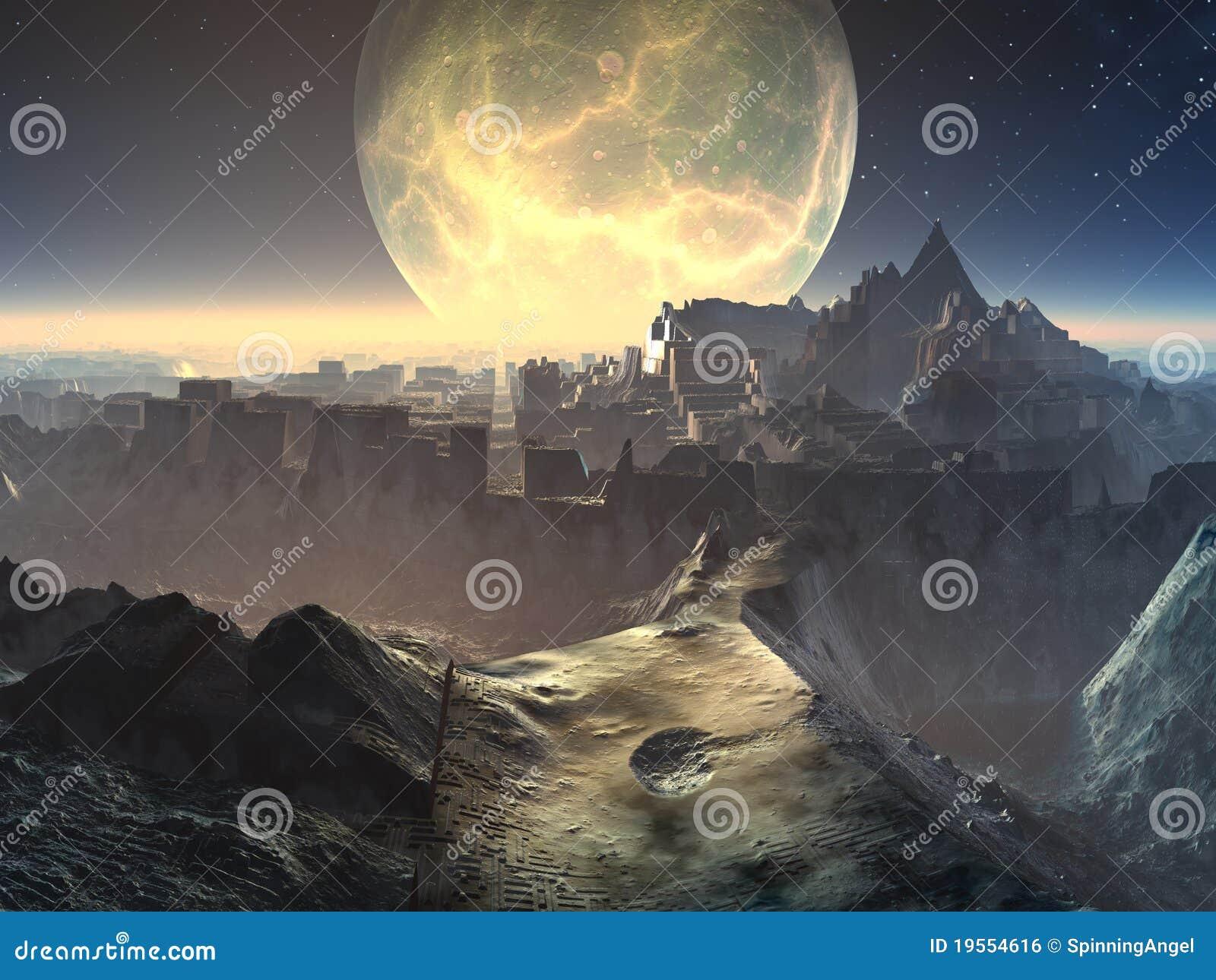 De vreemde Ruïnes van de Stad door Maanlicht