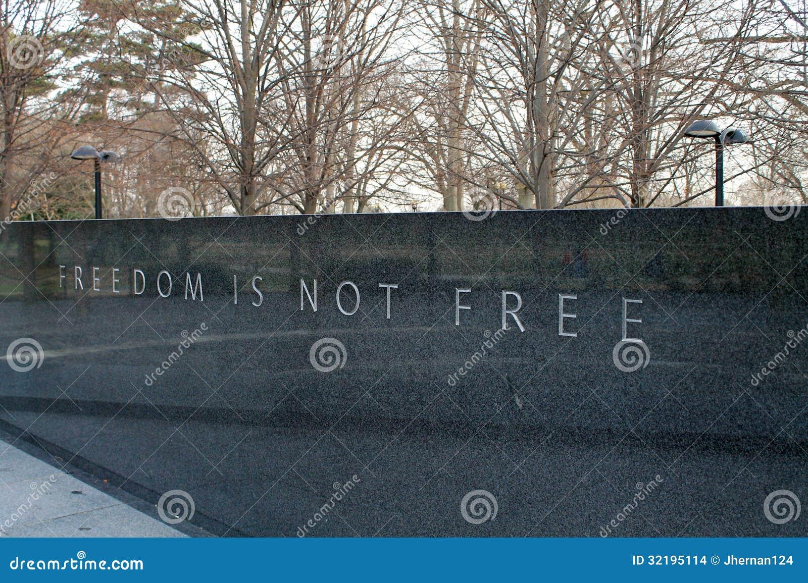 De vrijheid is niet vrij bij Koreaans oorlogsgedenkteken