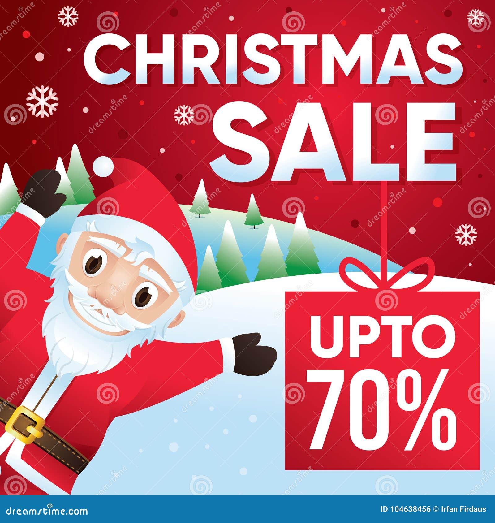 Download De Vrolijke Achtergrond Van De Kerstmisverkoop Met Santa Claus, Korting Tot 70 Percenten Vector Illustratie - Illustratie bestaande uit karakter, gelukkig: 104638456