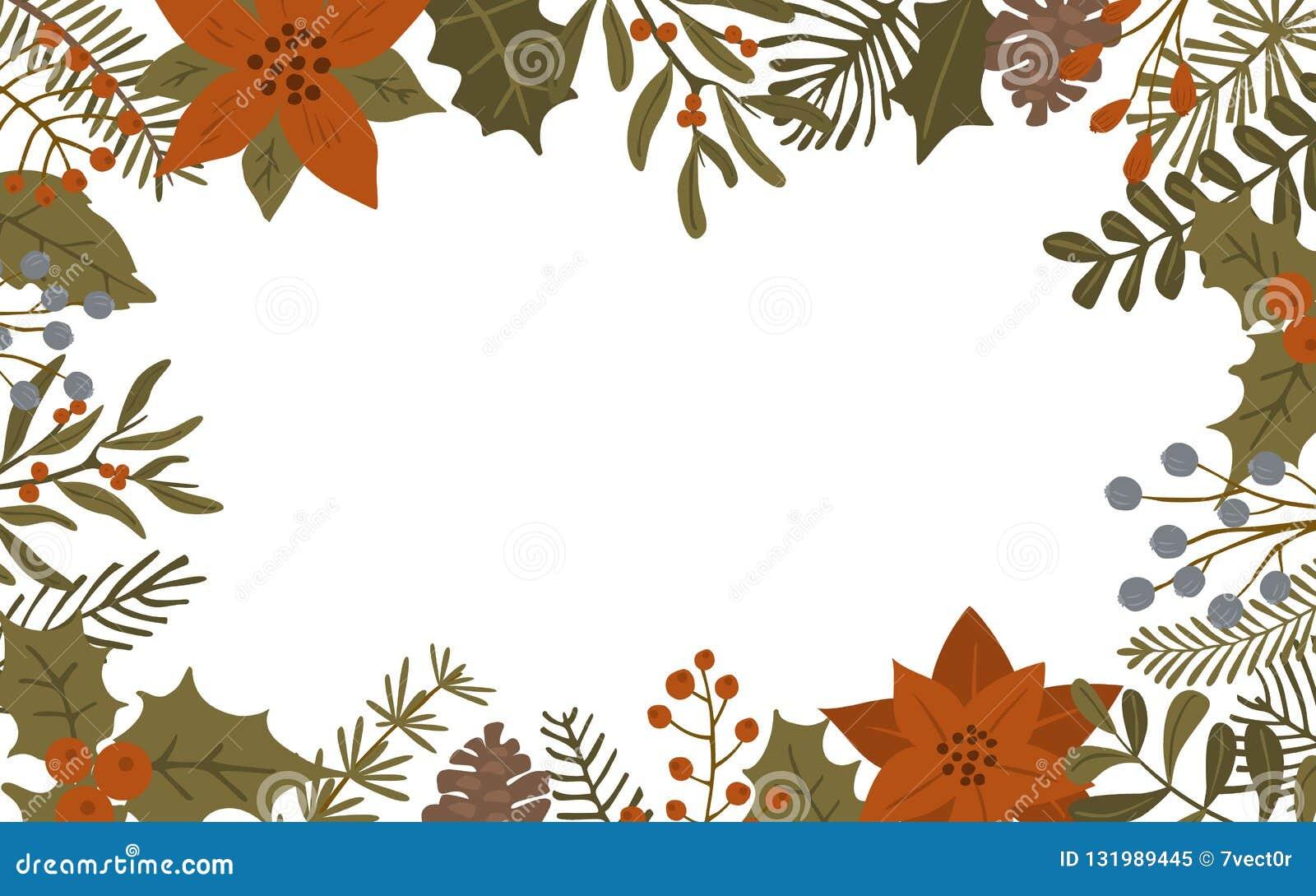 De vrolijke het gebladerteinstallaties van de Kerstmiswinter, poinsettiabloemen verlaat takken en rood bessenkader