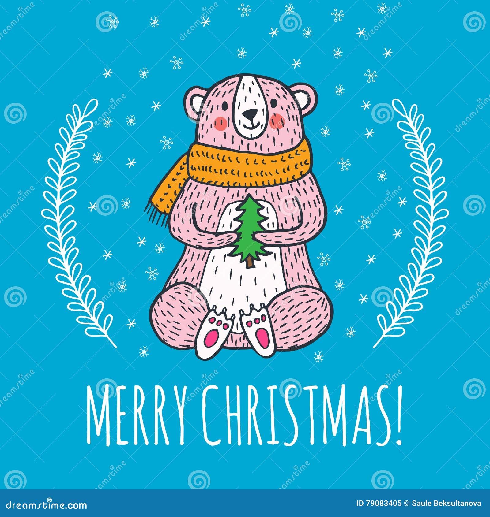De vrolijke kaart van de Kerstmisgroet met teddybeer