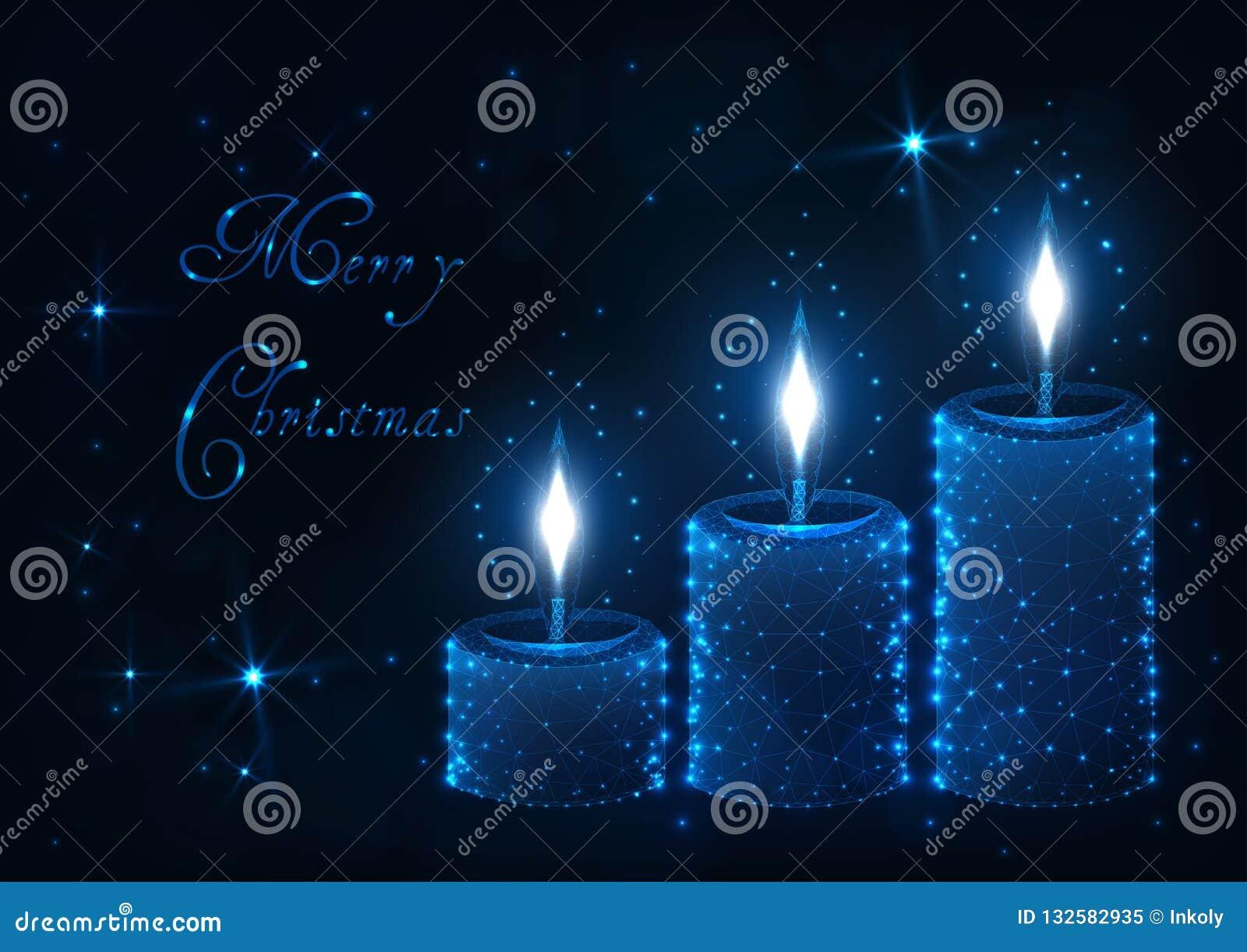 De vrolijke kaart van de Kerstmisgroet met decoratieve aromakaars met vlammen, glanzende sterren en teksten