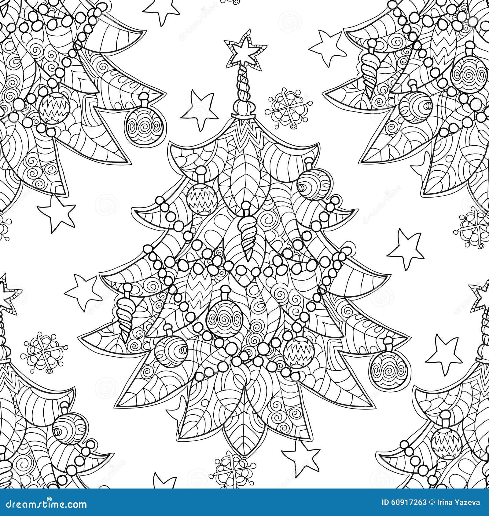 de vrolijke krabbel de kerstmis zentangle spar vector