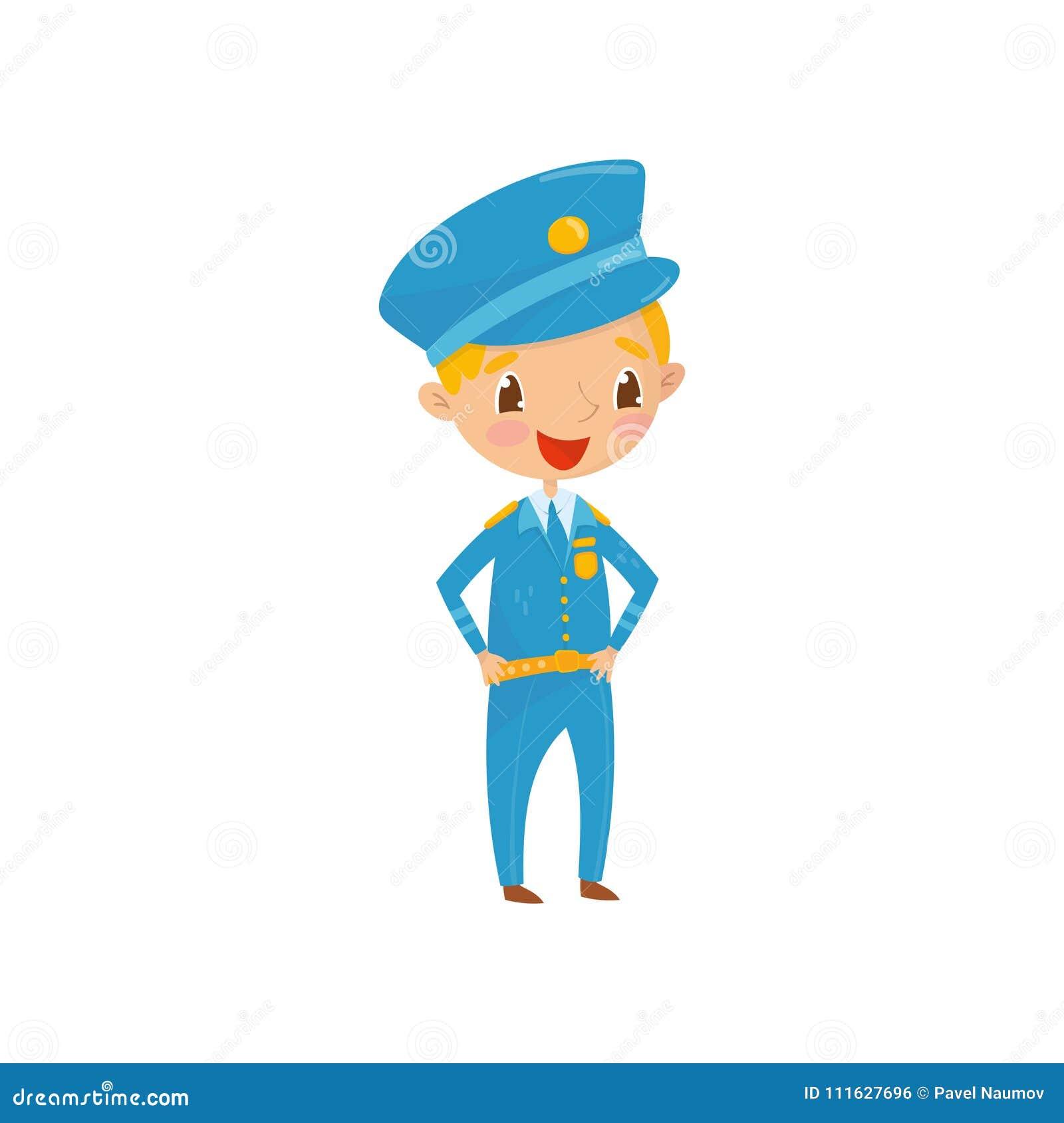 De vrolijke tienerjongen kleedde zich als politieagent Het jonge geitje wil voortaan arbeider van politieafdeling zijn Beroep van