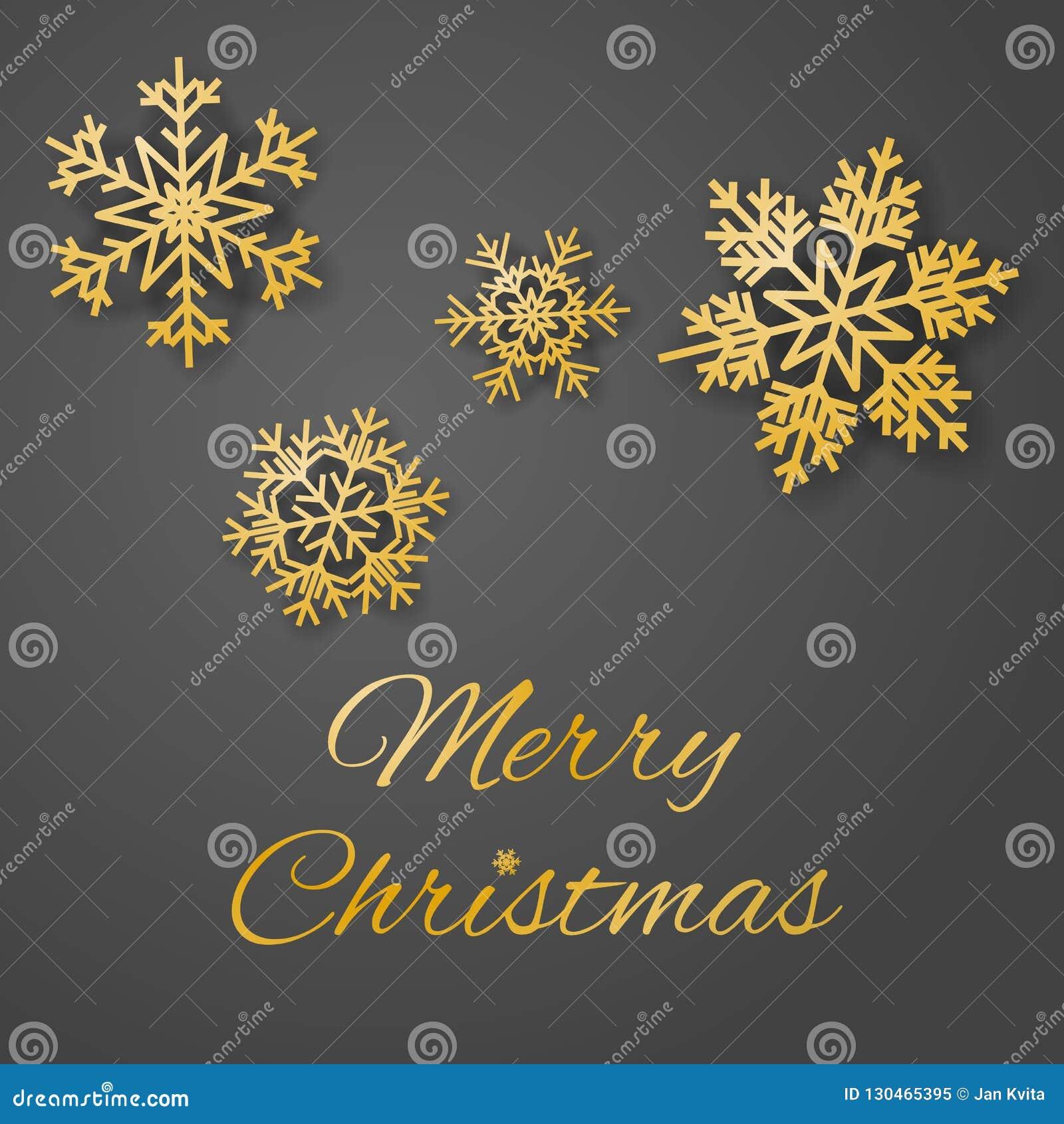 De vrolijke vector van de de groetkaart van de Kerstmisluxe met weelderige gouden gekleurde sneeuwvlokken op grijze achtergrond