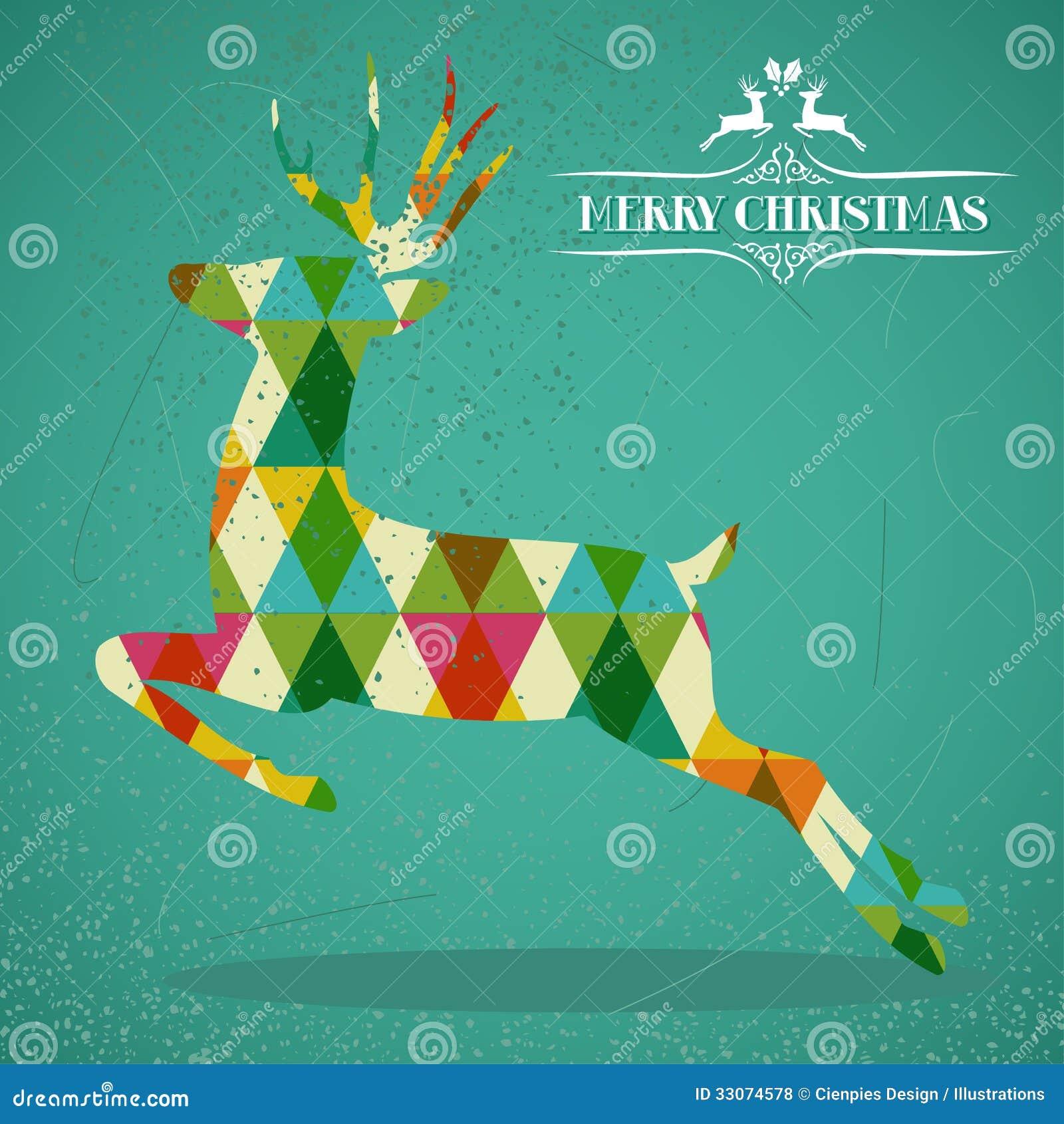 De vrolijke vorm van het Kerstmis kleurrijke rendier.