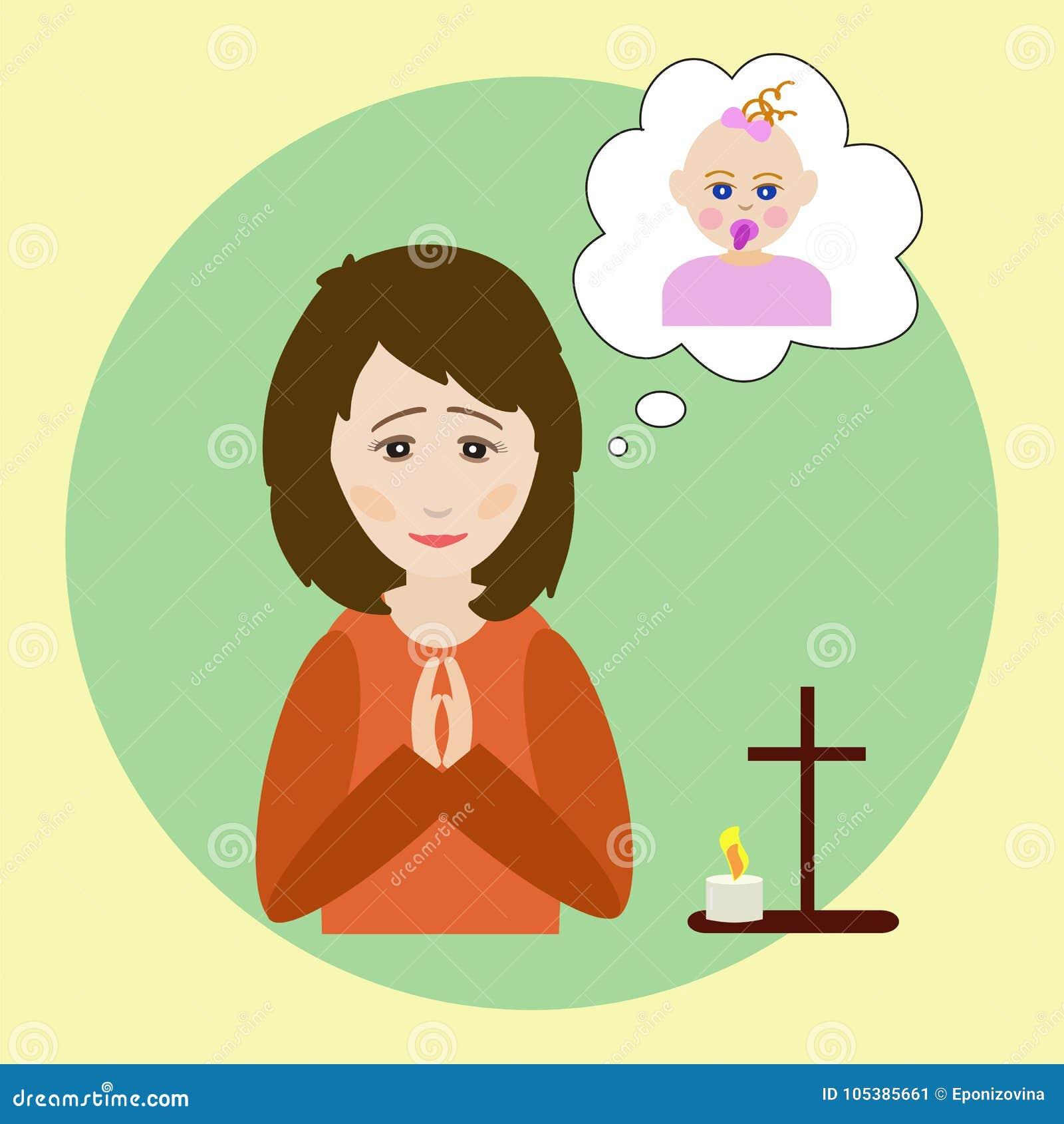 De vrouw bidt voor een kind