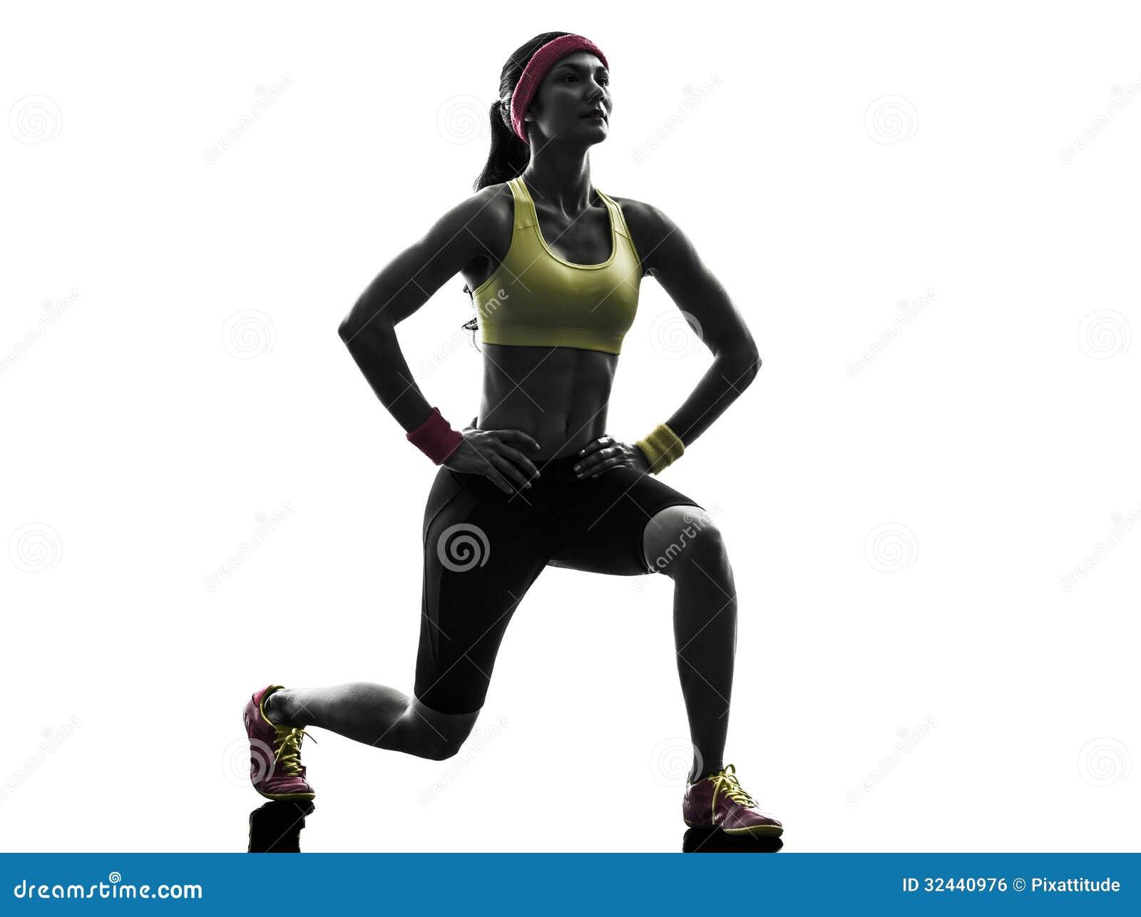 De vrouw die geschiktheidstraining uitoefenen valt het buigen silhouet uit