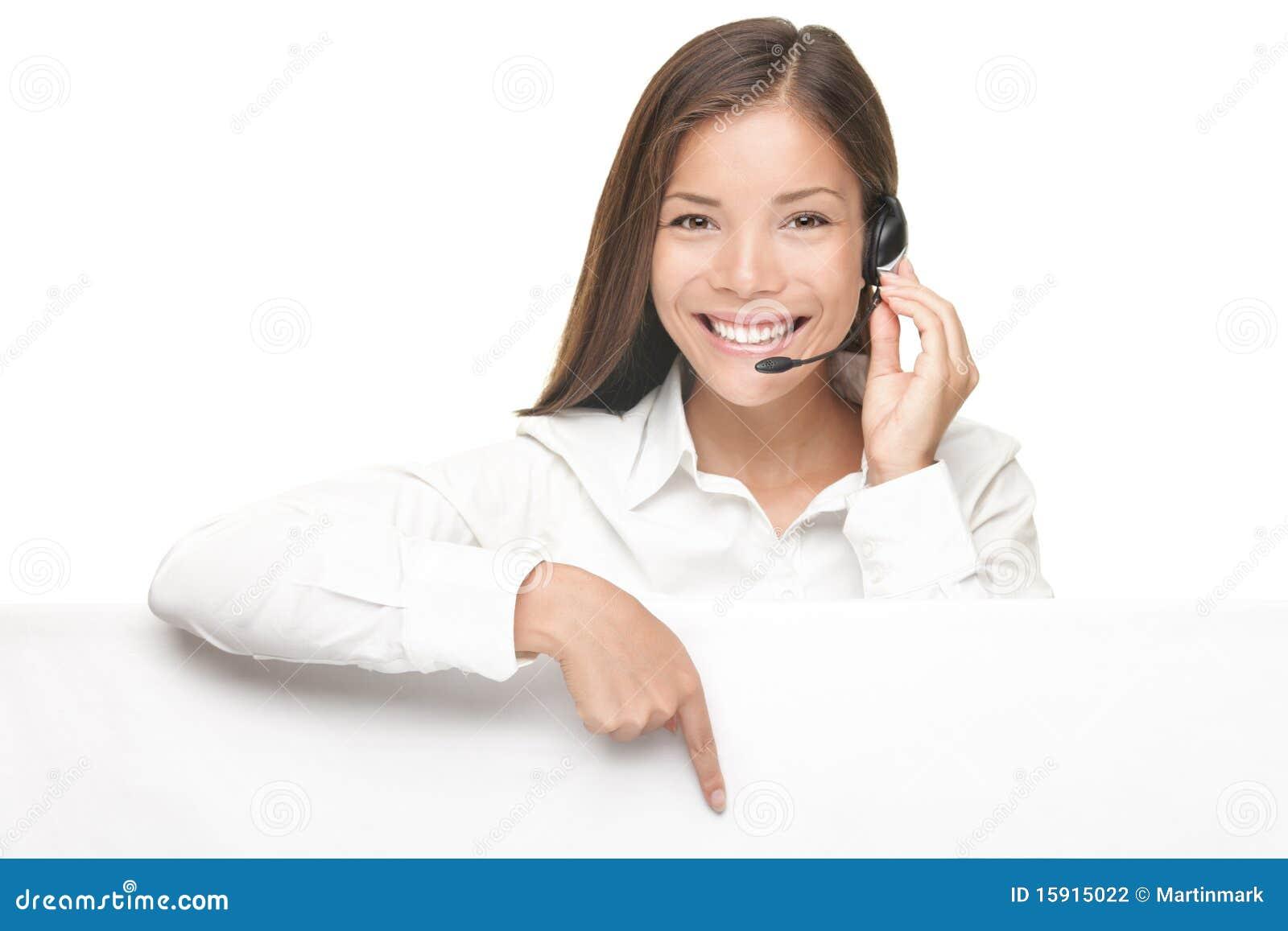 De vrouw die van de Dienst van de klant aanplakbordteken toont
