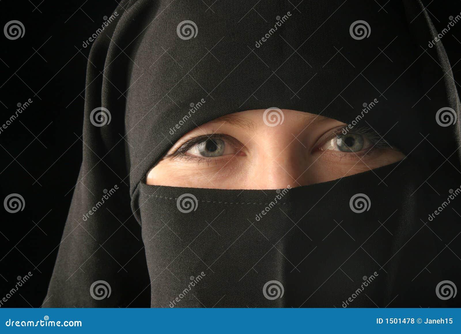 De vrouw die van Mulsim sluier draagt