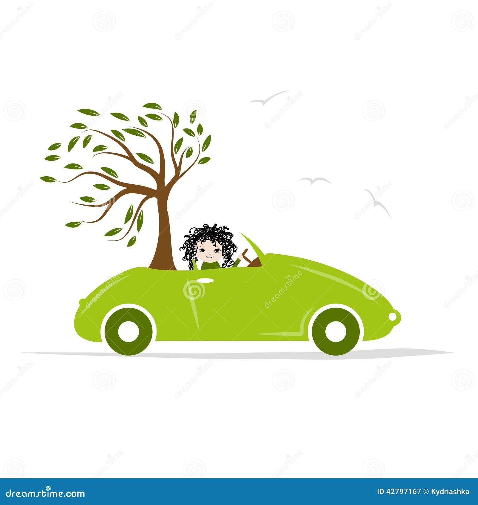 De vrouw draagt boom door groene auto voor uw ontwerp vector illustratie afbeelding 42797167 - Boom ontwerp ...