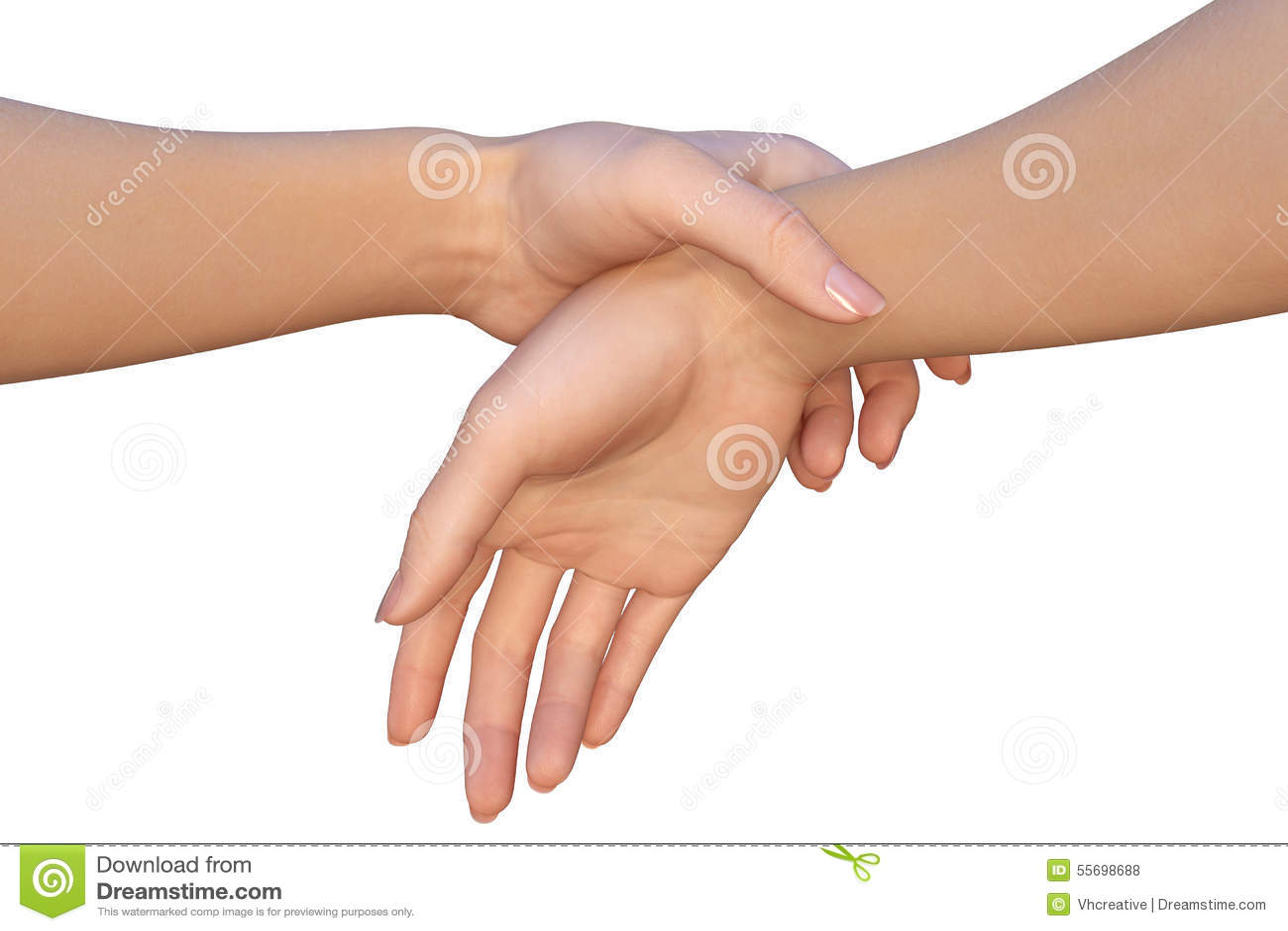 De vrouw houdt een ander wijfje door de pols van haar hand