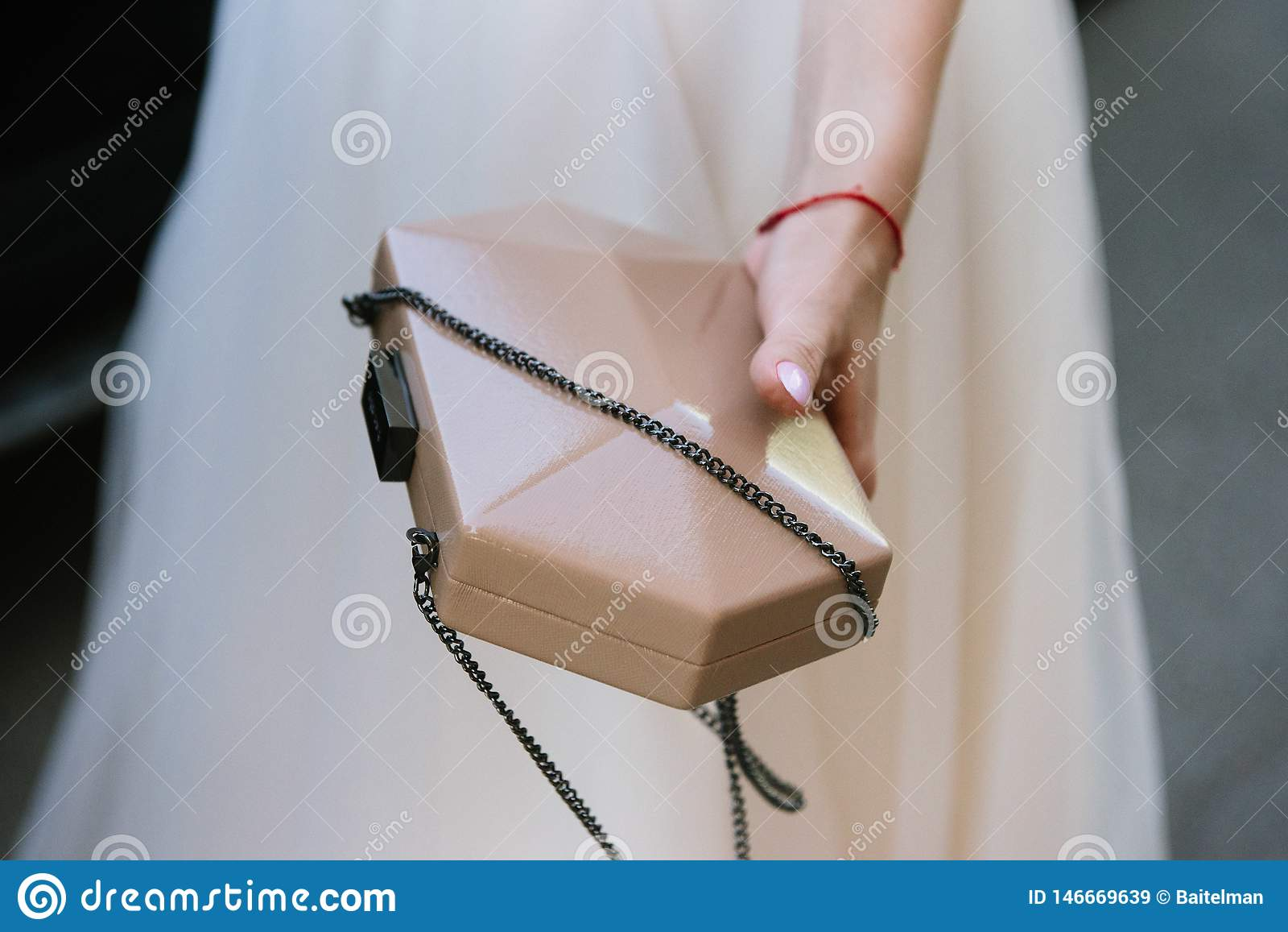 De vrouw houdt ter beschikking een kleine vrouwelijke handtas