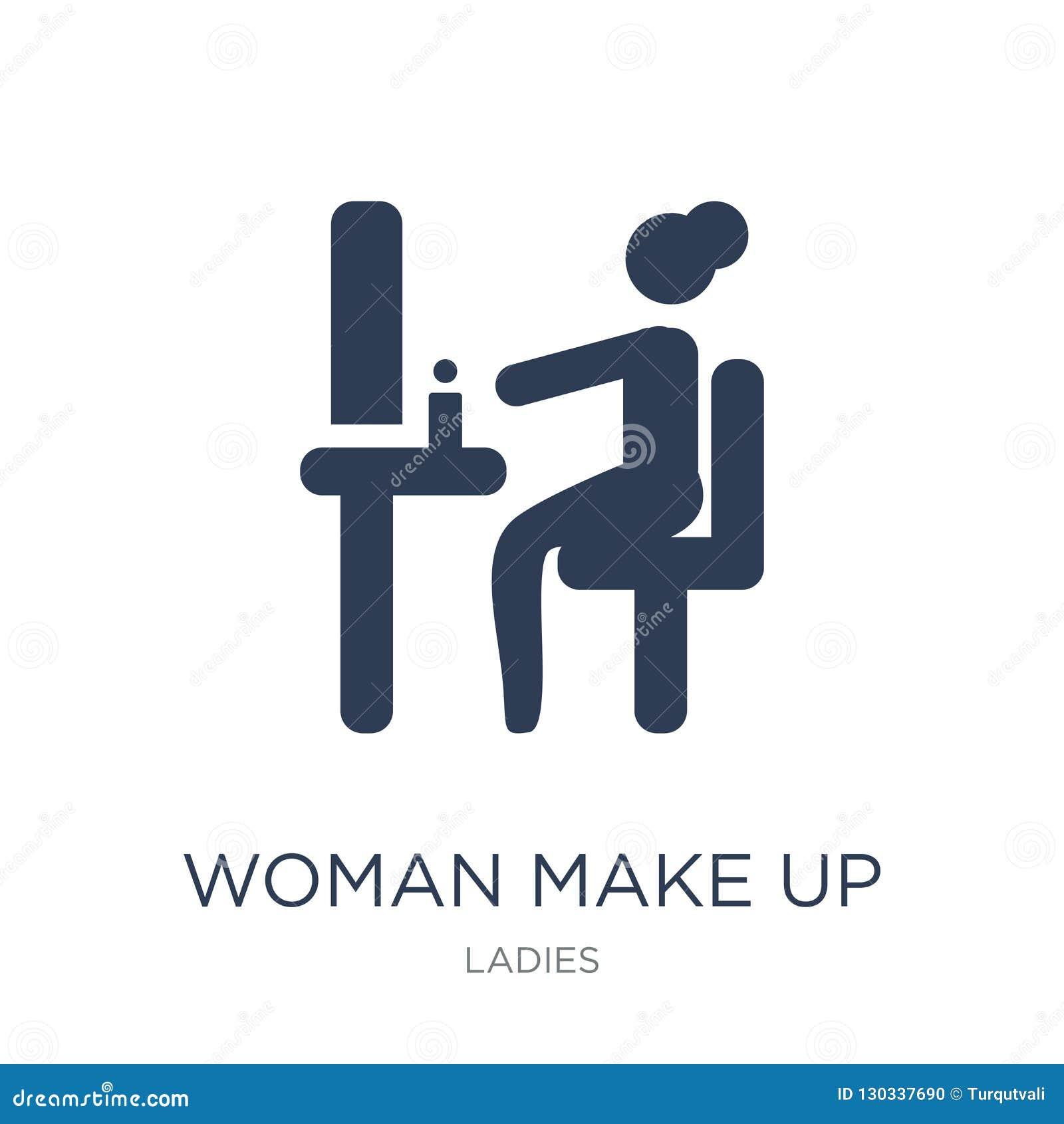 De vrouw maakt omhoog pictogram De in vlakke vectorvrouw maakt omhoog pictogram op whi