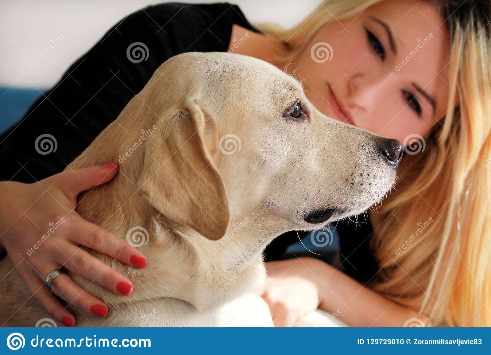 De vrouw met hond rust thuis in bed, ontspannend in slaapkamer Het meisje petting met haar hond Portret van leuk geel Labrador