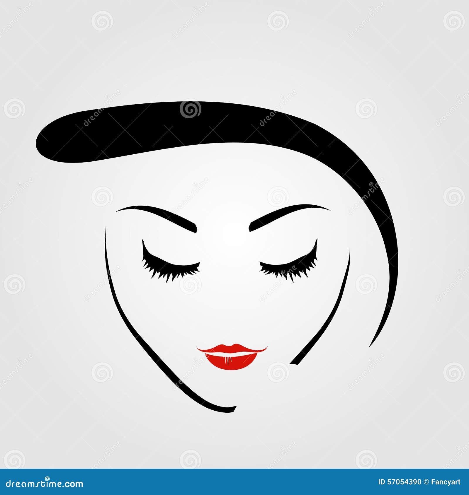 De vrouw met uitstekend kapsel en maakt omhoog