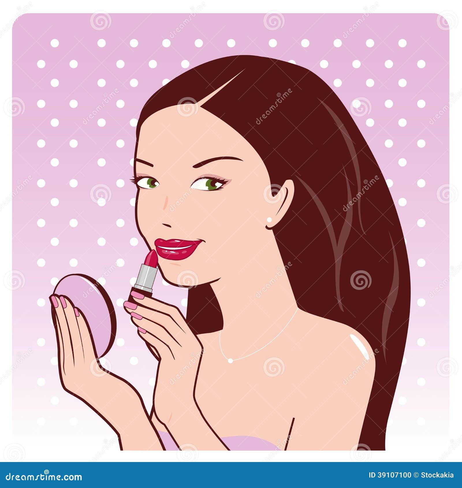 De vrouw past lippenstift toe