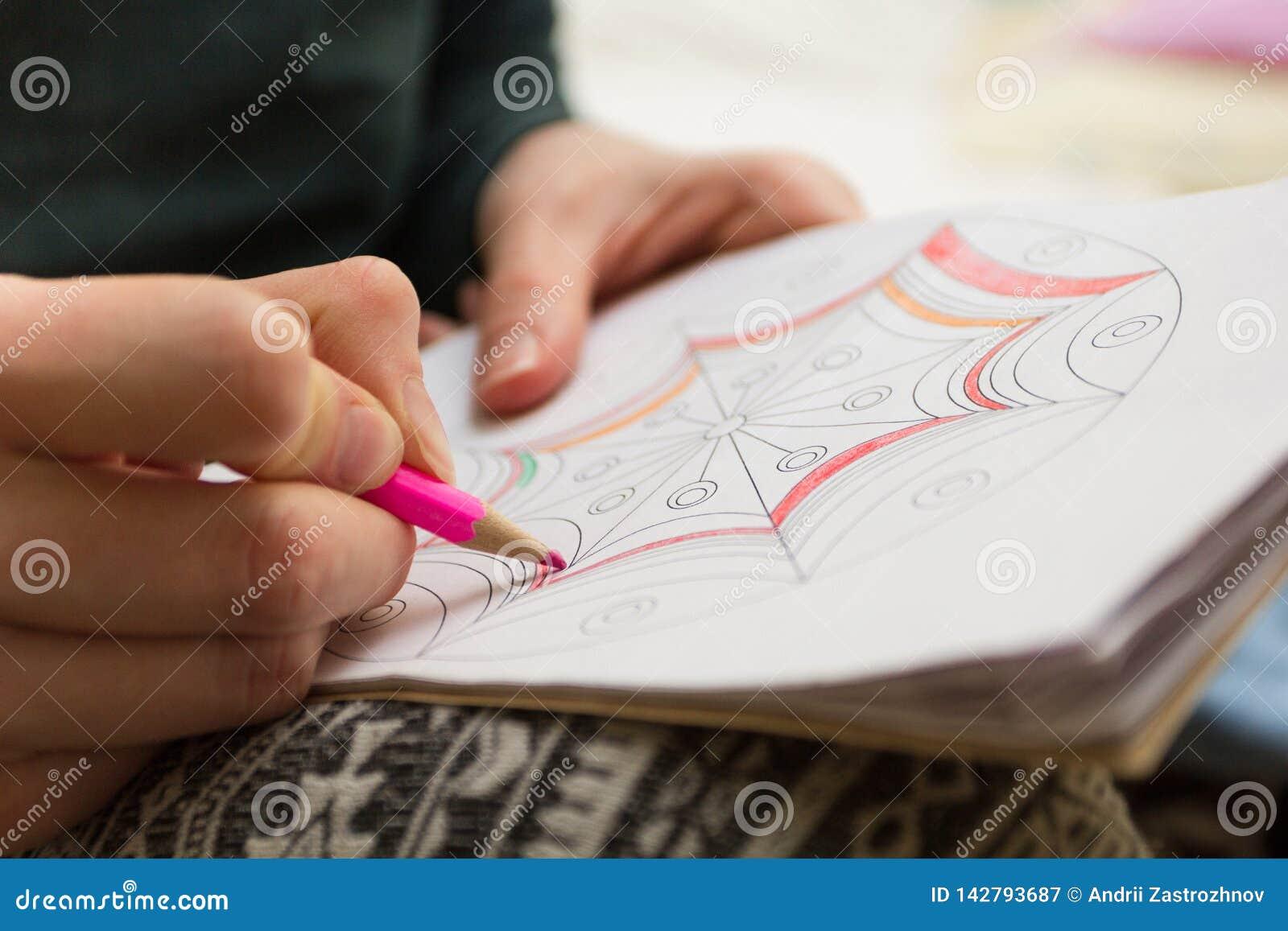 De vrouw schildert patroon roze potlood