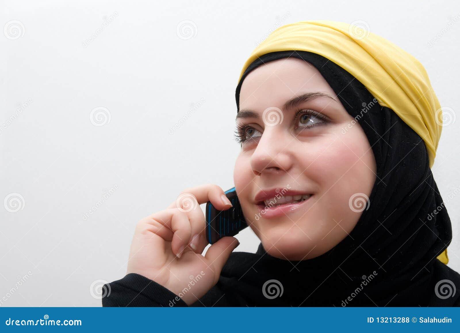 De vrouw van het mohammedanisme het spreken