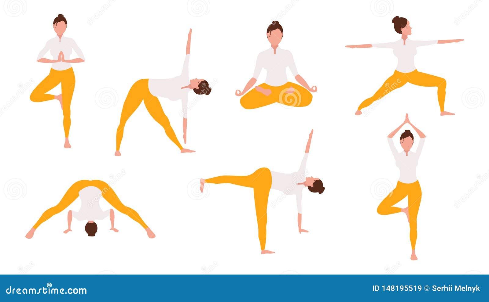 De vrouw in yoga stelt