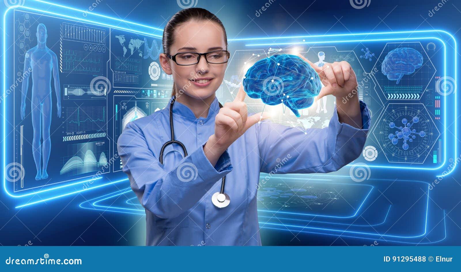 De vrouwelijke arts met de hersenen in medisch concept