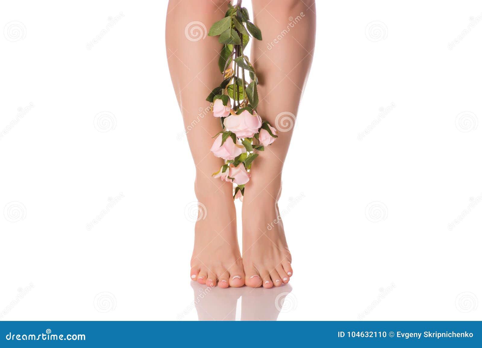 Download De Vrouwelijke Voeten Hielen Bloemen Stock Foto - Afbeelding bestaande uit elegantie, leisure: 104632110