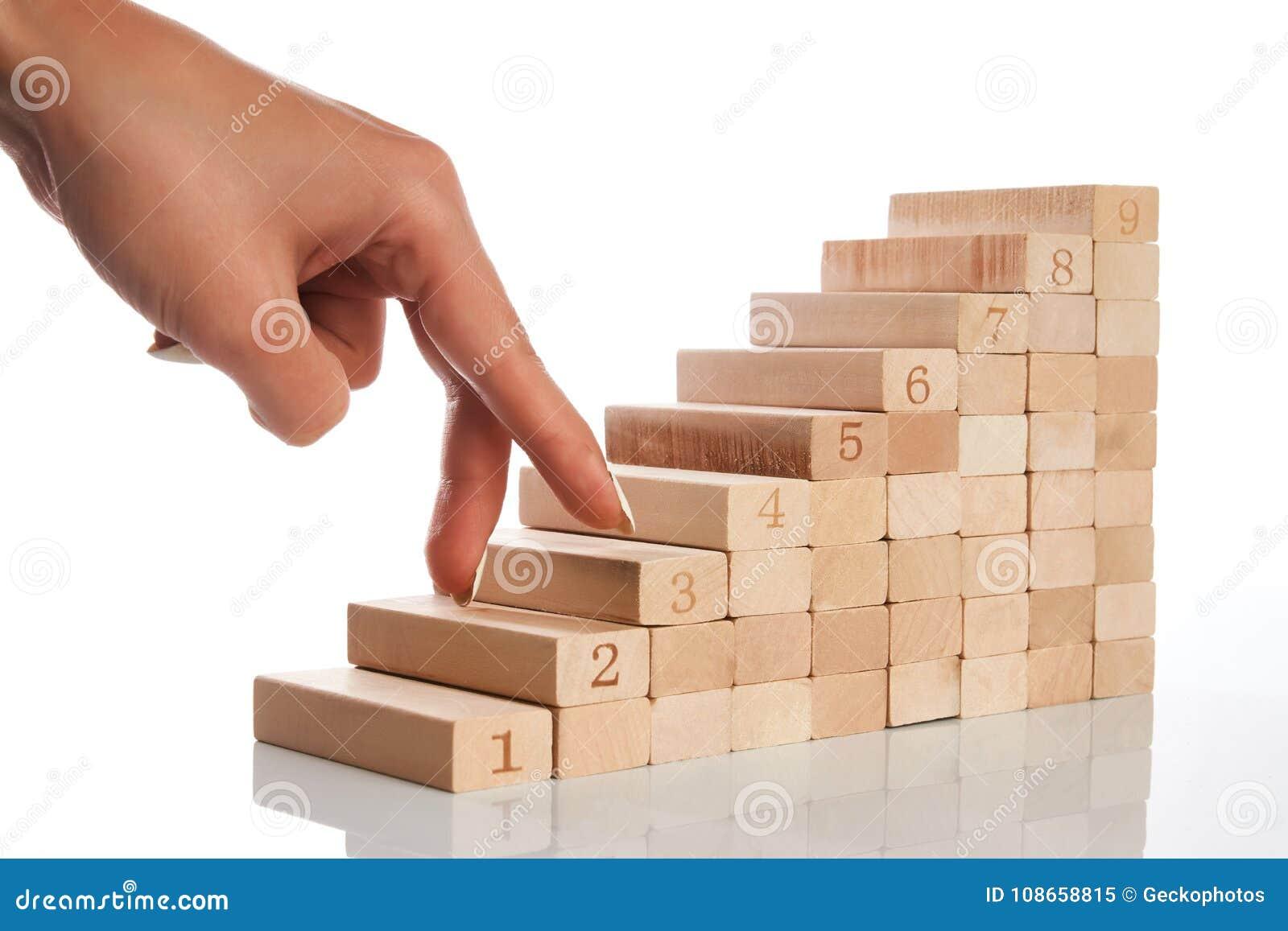 De vrouwen overhandigen vingergang op gestapeld houten blok