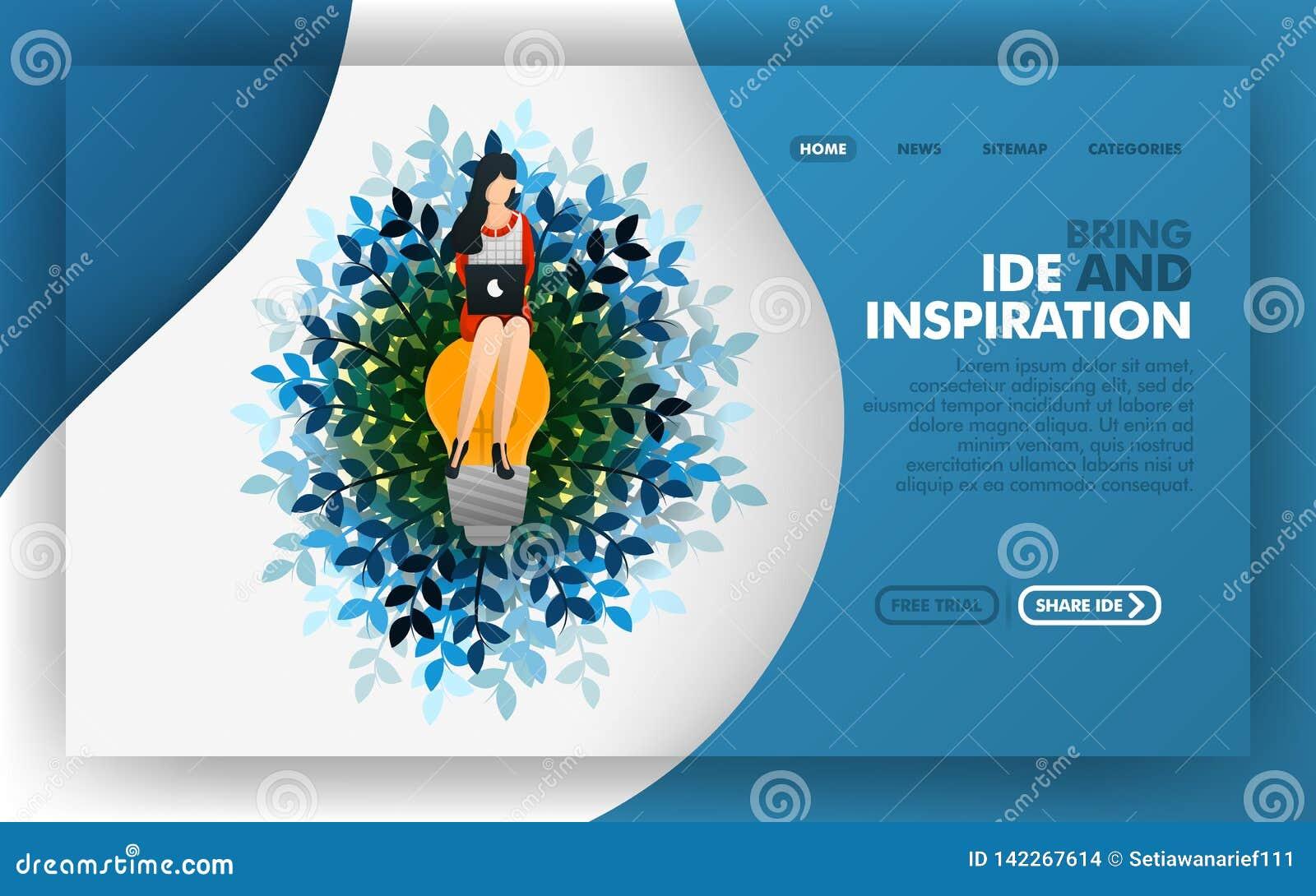 De vrouwenzitting op de lamp, Vectorillustratieconcept het zoeken van ideeën en inspiratie Makkelijk te gebruiken voor website, b