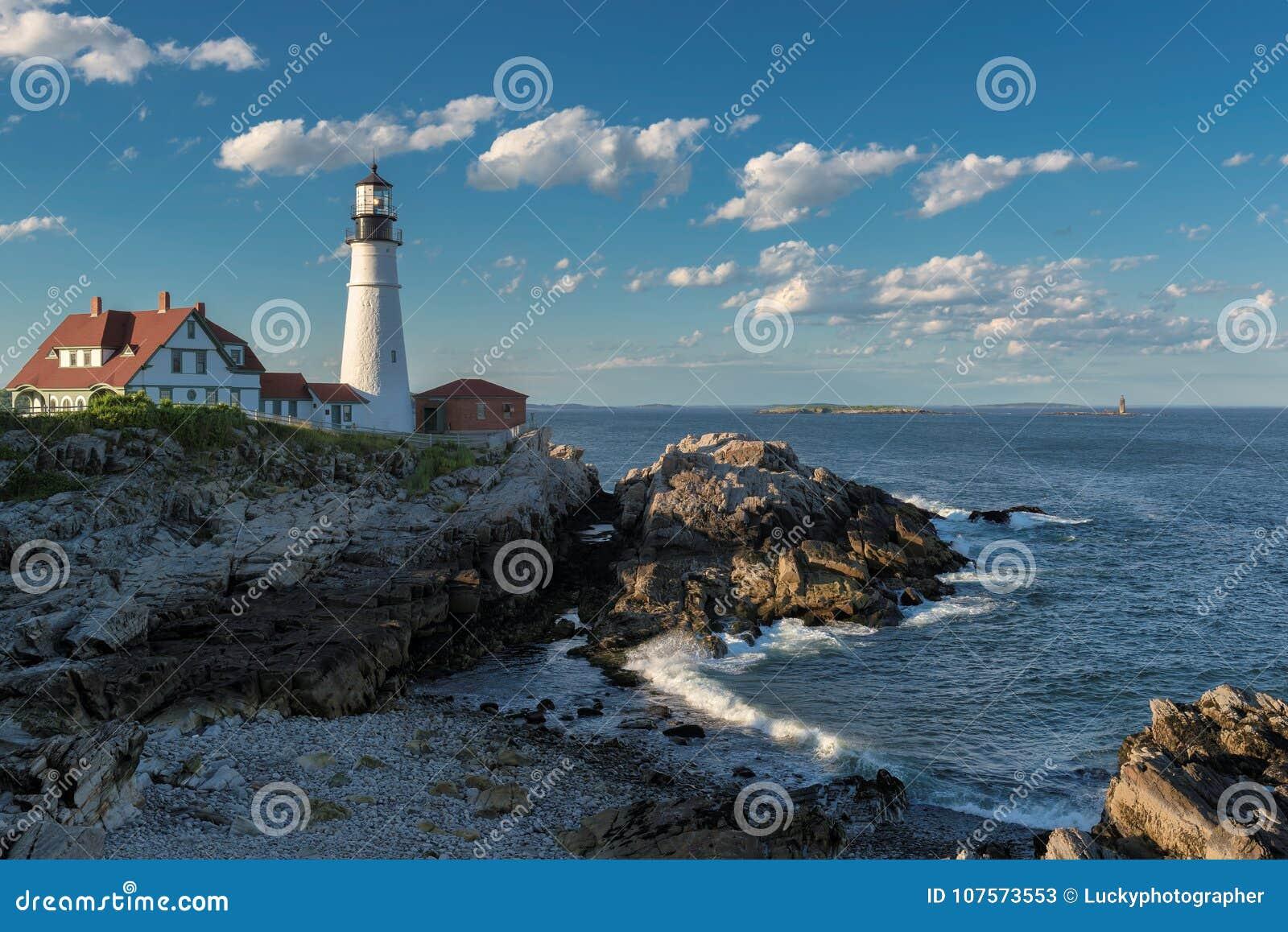 De Vuurtoren van Portland in Kaap Elizabeth, Maine, de V.S.