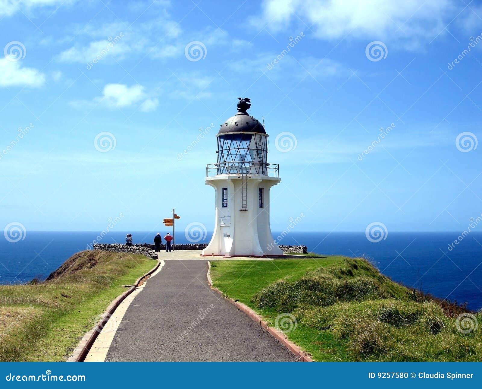 De Vuurtoren Van Reinga Van De Kaap Nieuw Zeeland Stock
