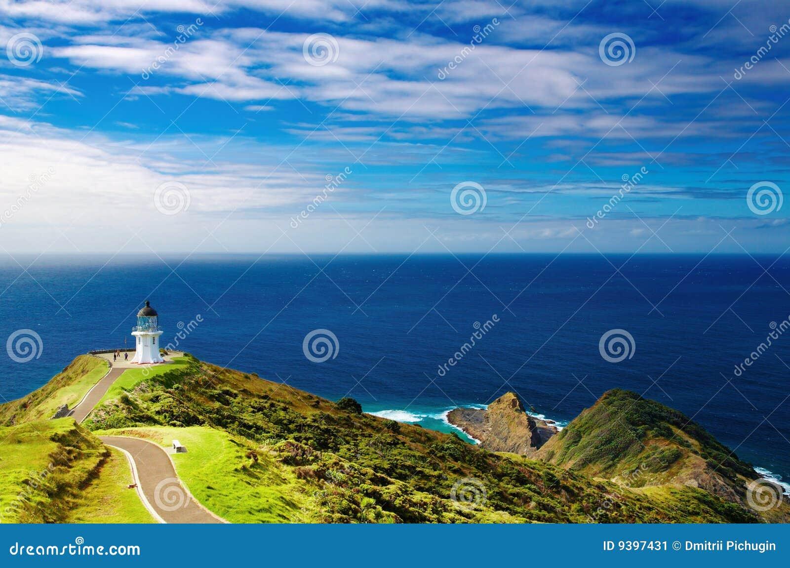 De Vuurtoren van Reinga van de kaap, Nieuw Zeeland