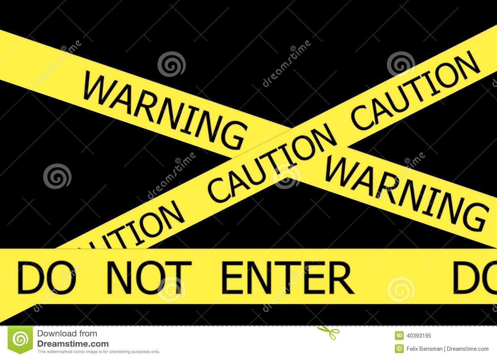 De waarschuwing en de Voorzichtigheid en gaan geen gele banden in