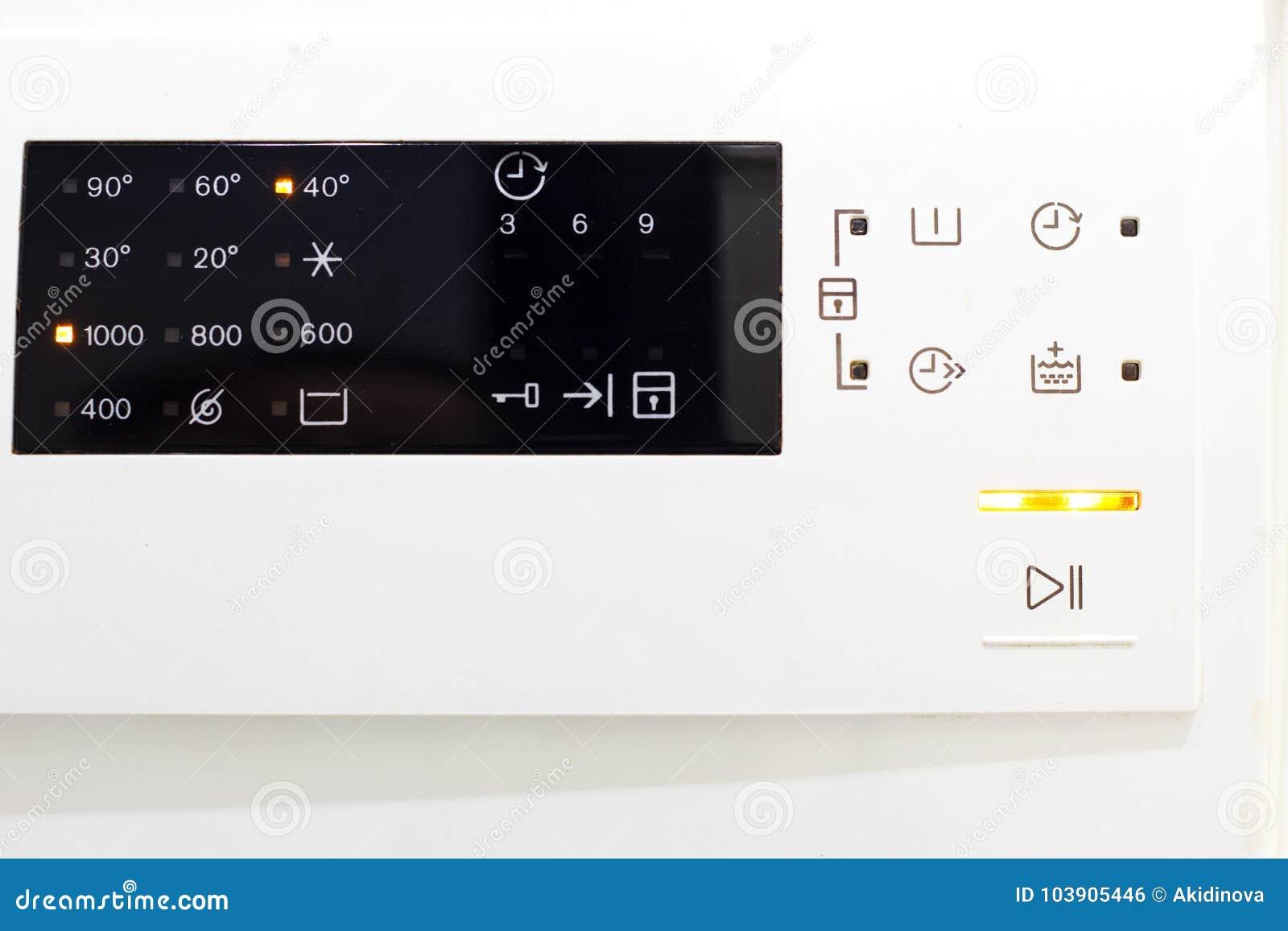 De wasmachine van de vertoning Macrofotodeel van moderne huiswasmachine