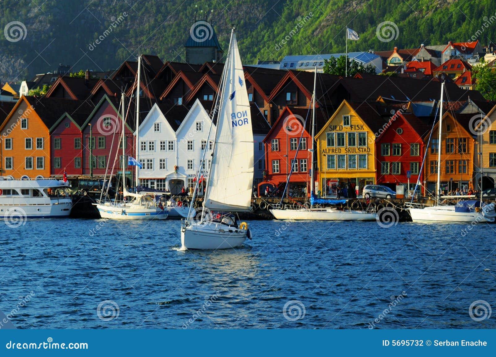 De waterkant van Bergen, Noorwegen