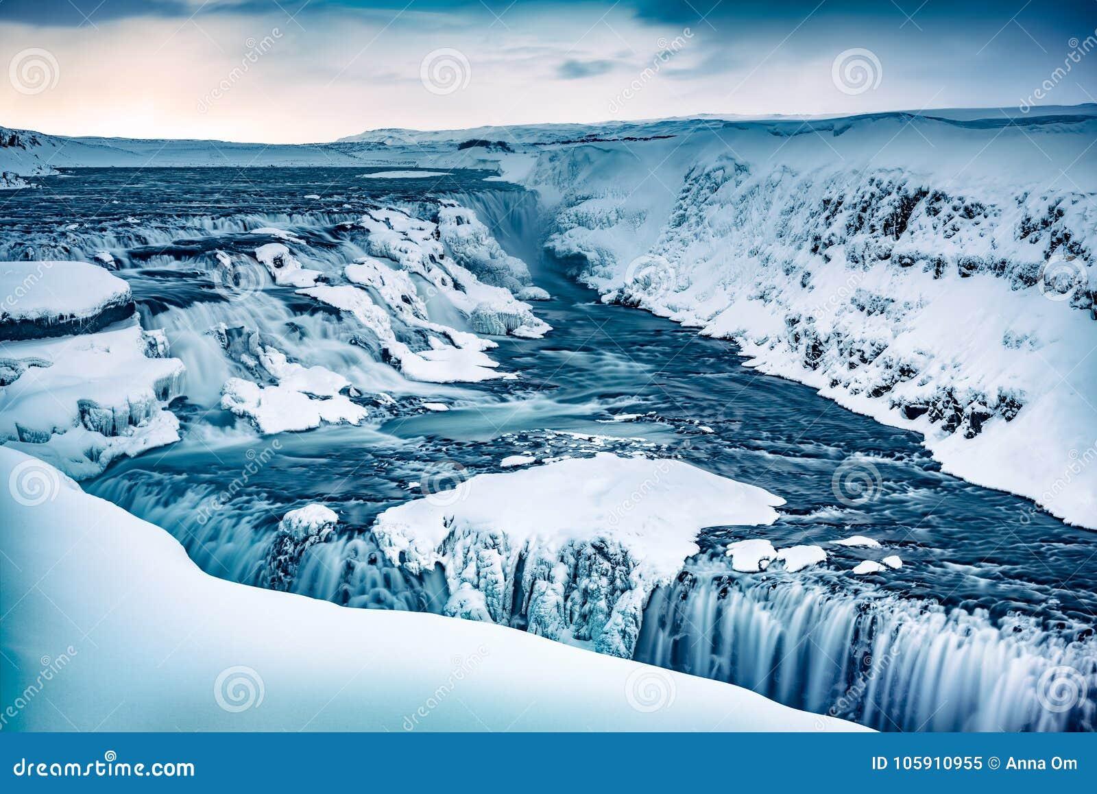 De waterval van Gullfoss in IJsland