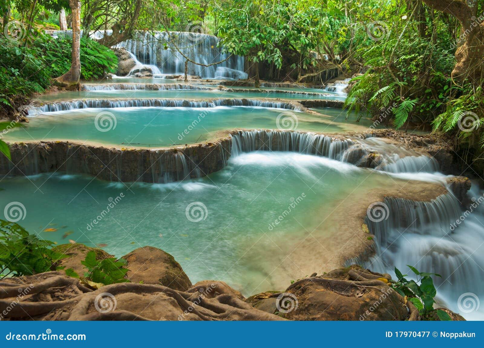 De Waterval van Si van Kuang, Luang prabang, Laos