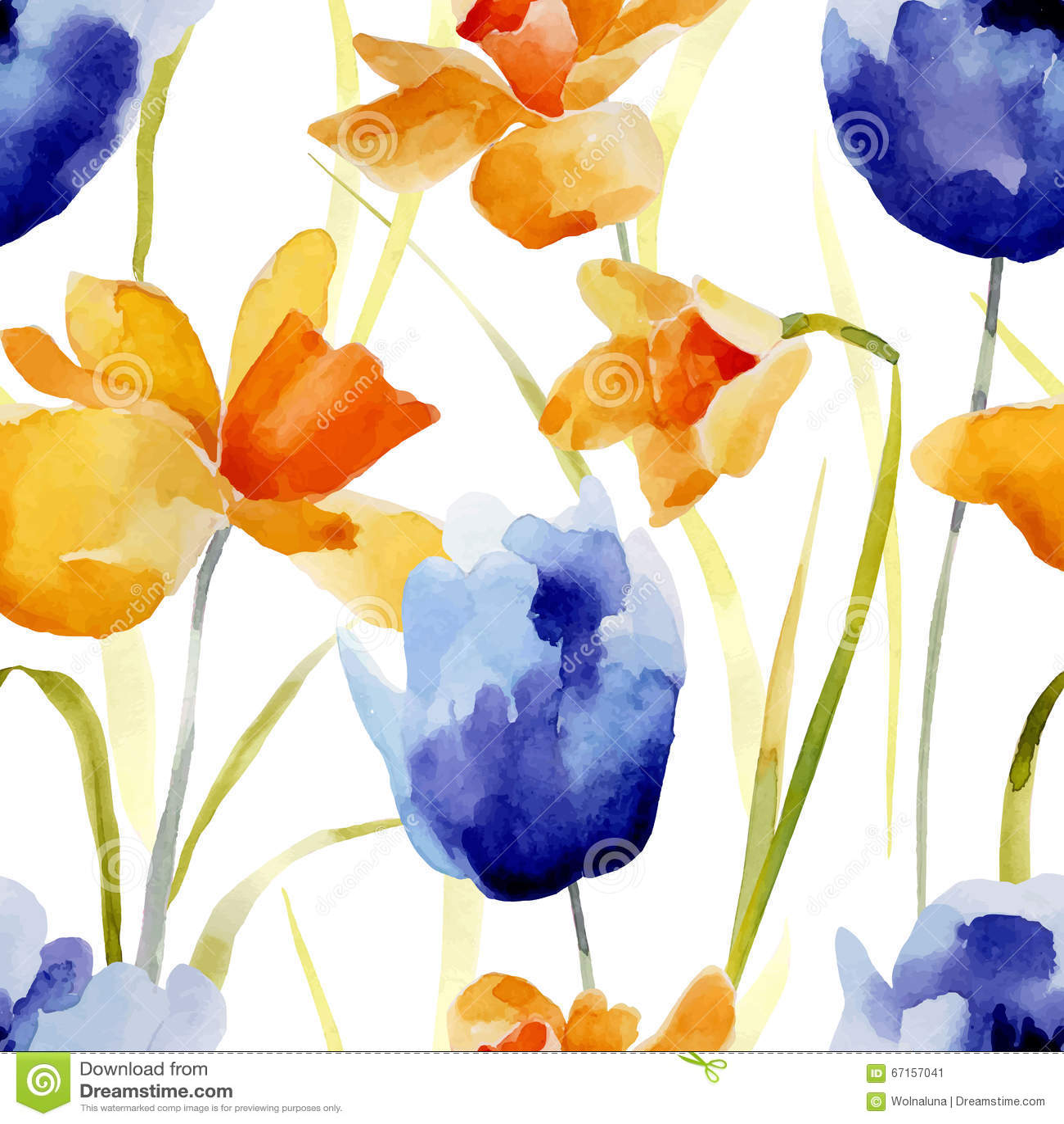 De waterverf bloeit naadloos patroon