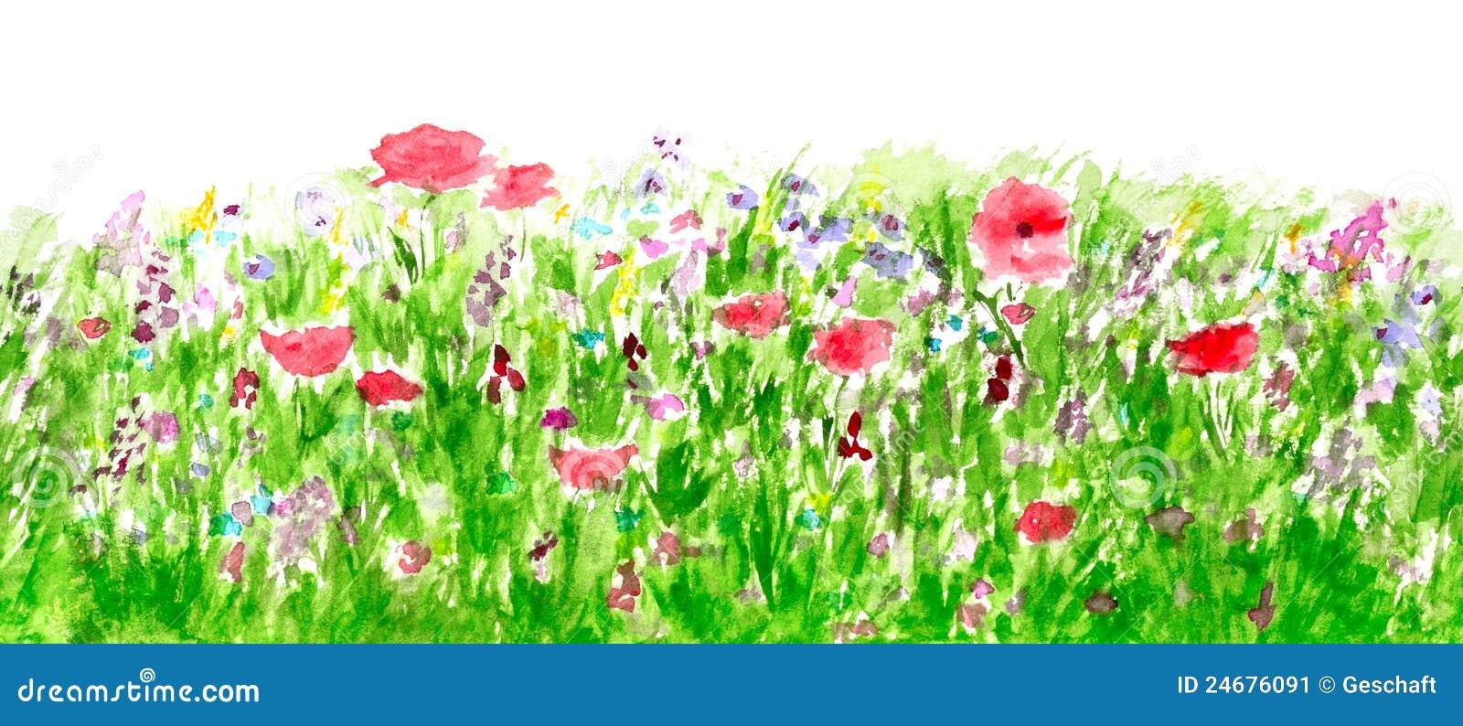 De Waterverf van de Bloemen van de zomer, het Naadloze Patroon van de Grens