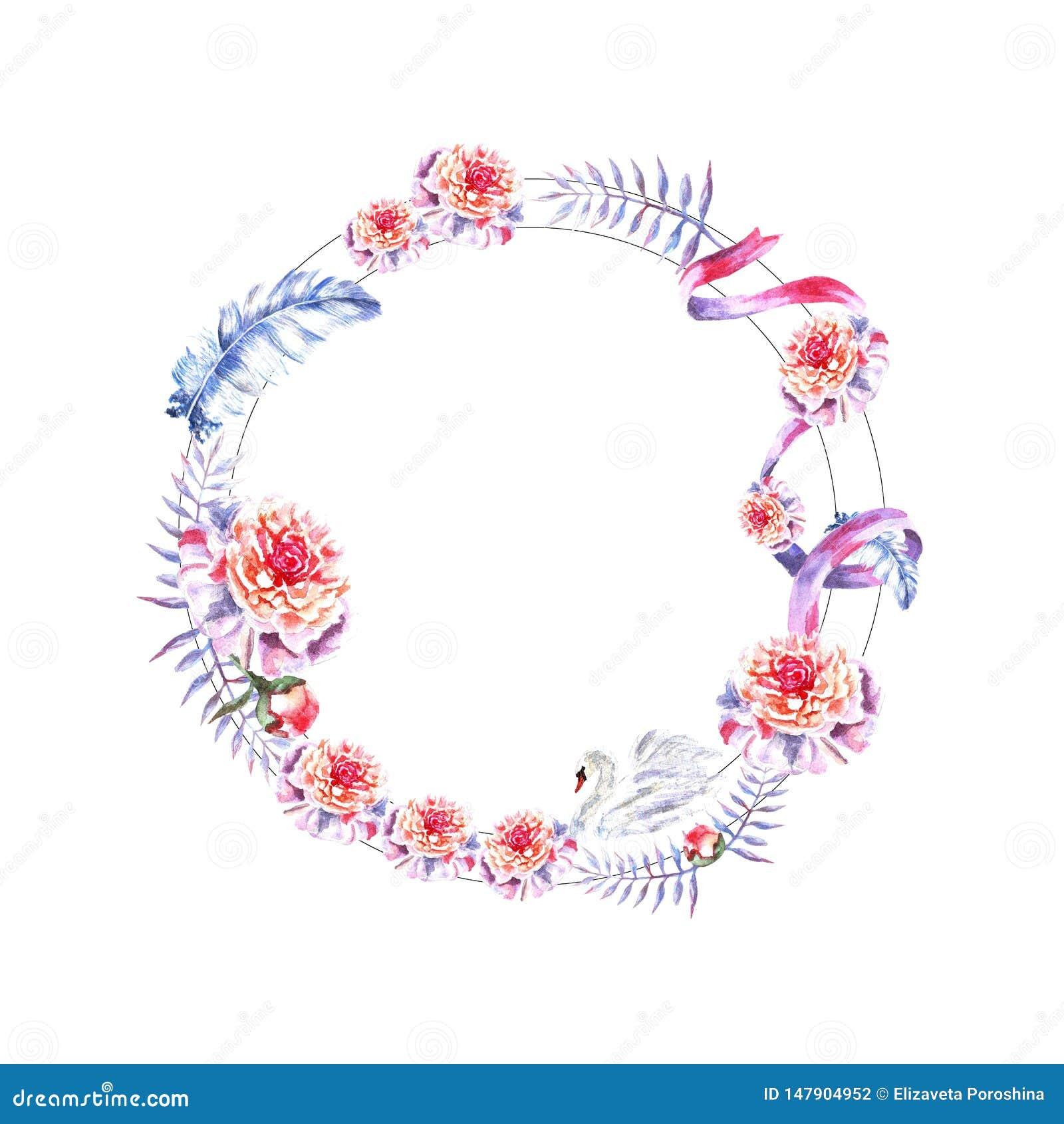 De waterverfhand schilderde cirkelkader van zwaan, veren, pioenen, takjes, lint