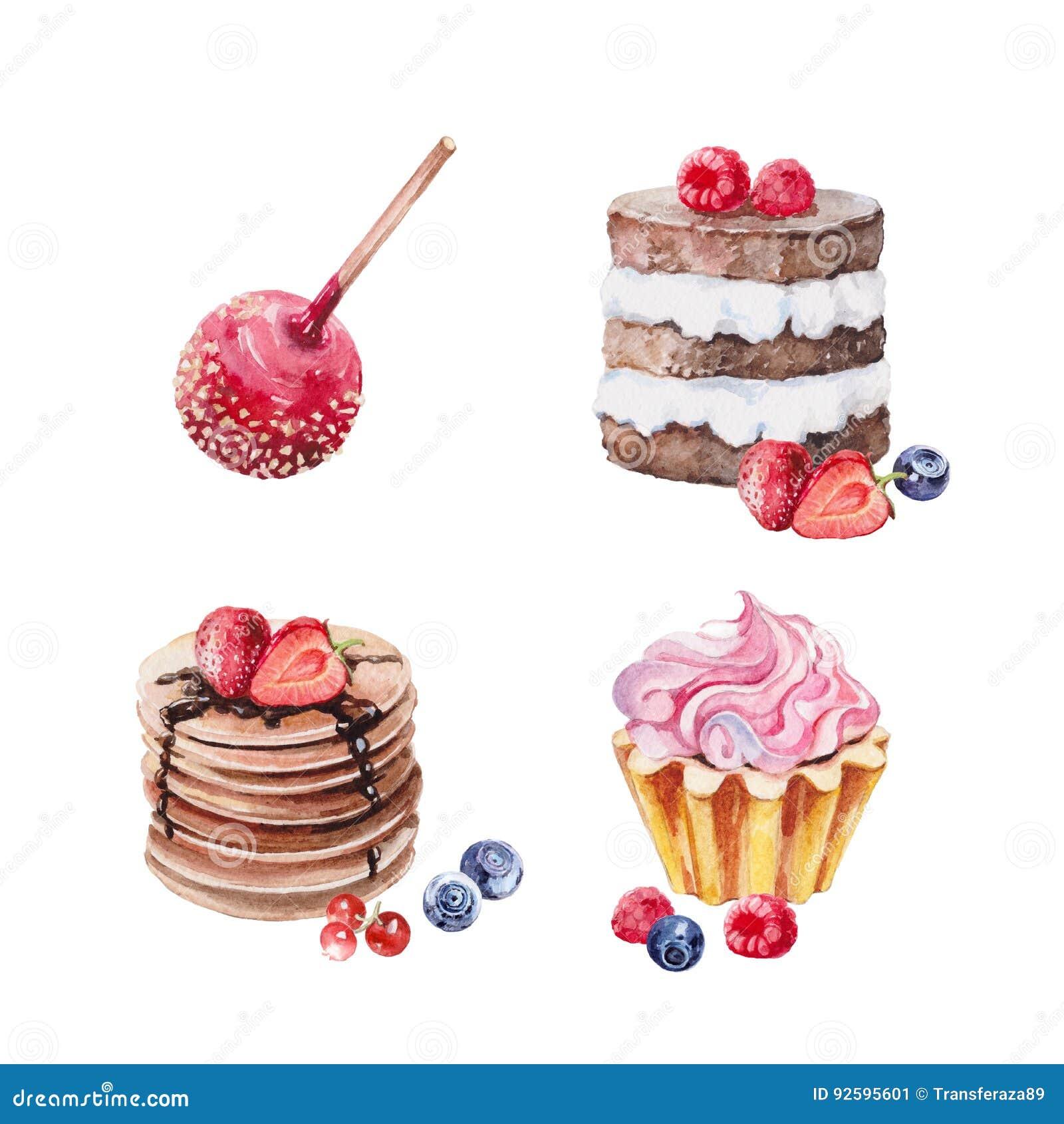 De waterverfreeks van de dessertscake
