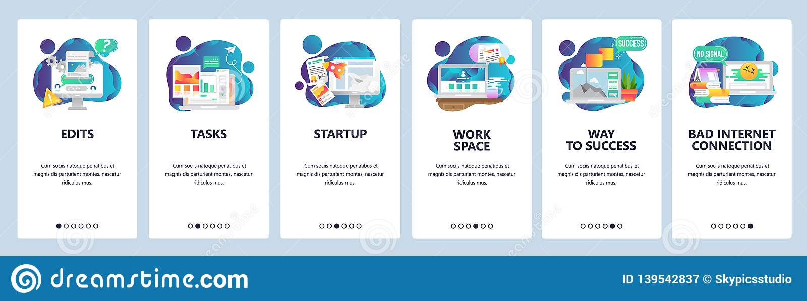 De website onboarding schermen Bedrijfseconomie en software-ontwikkeling Malplaatje van de menu het vectorbanner voor website en
