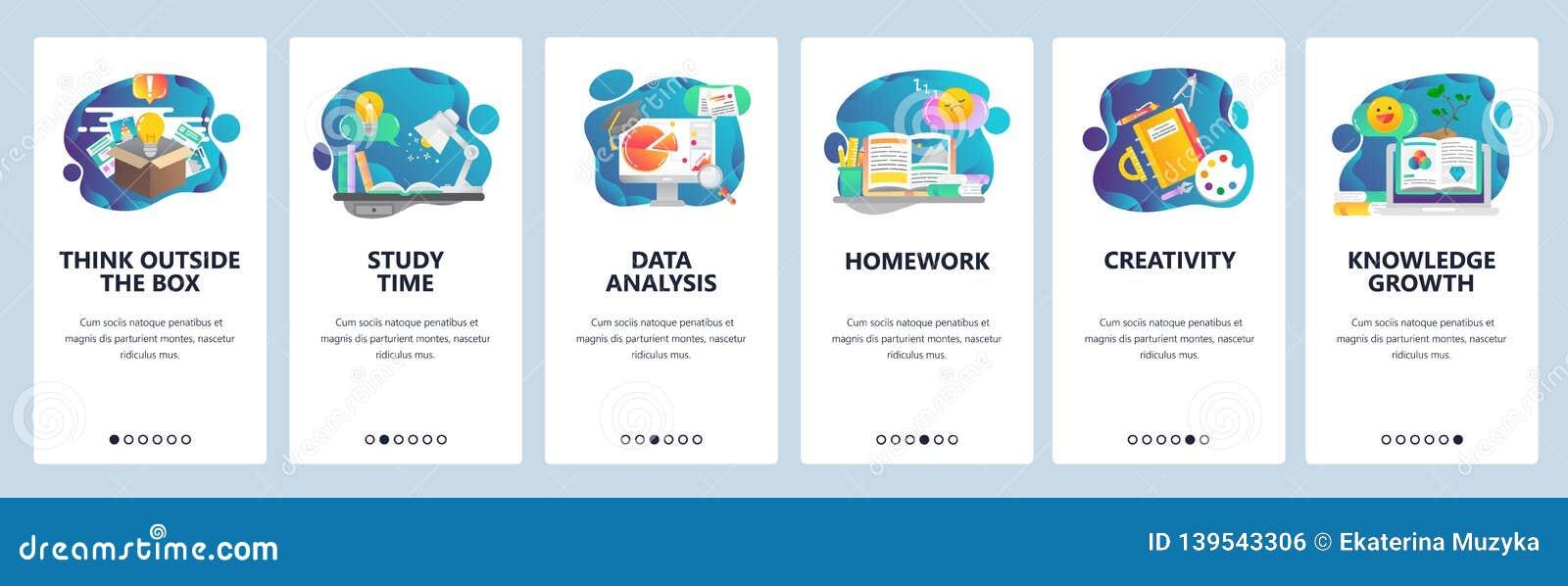 De website onboarding schermen Onderwijs, kennis, het bestuderen en creativiteit Malplaatje van de menu het vectorbanner voor web