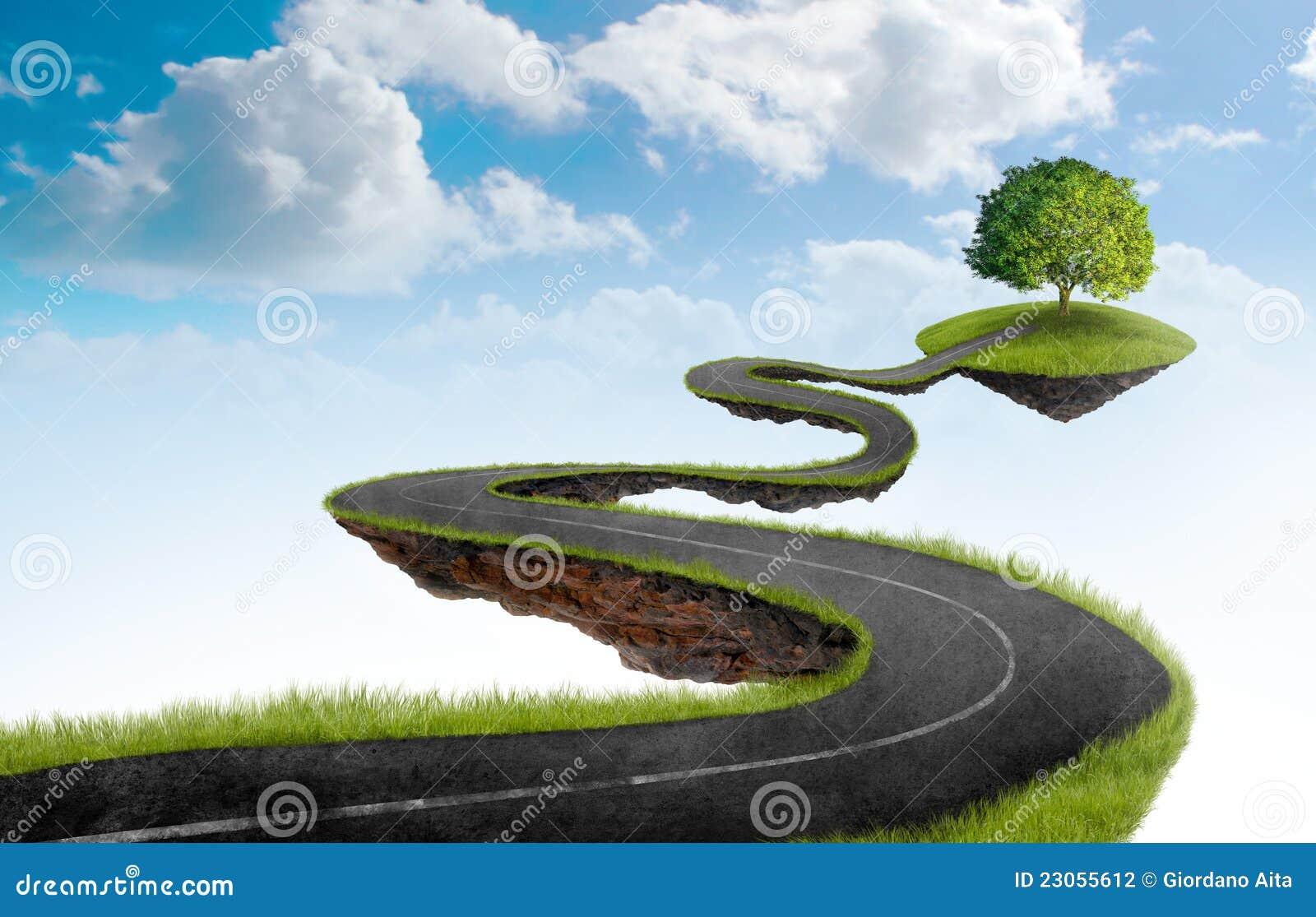 De weg aan boom