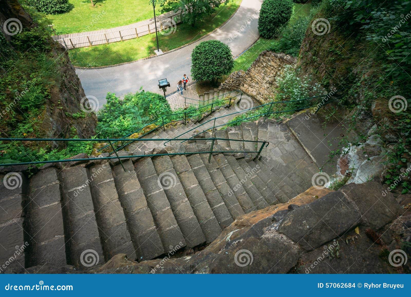 De Weg van de de Gangsteeg van de steenweg met Groene Bomen