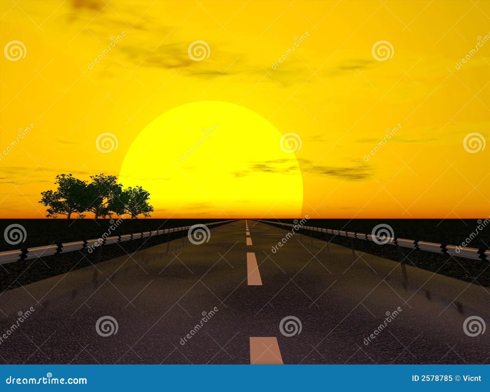De weg van de zonsondergang