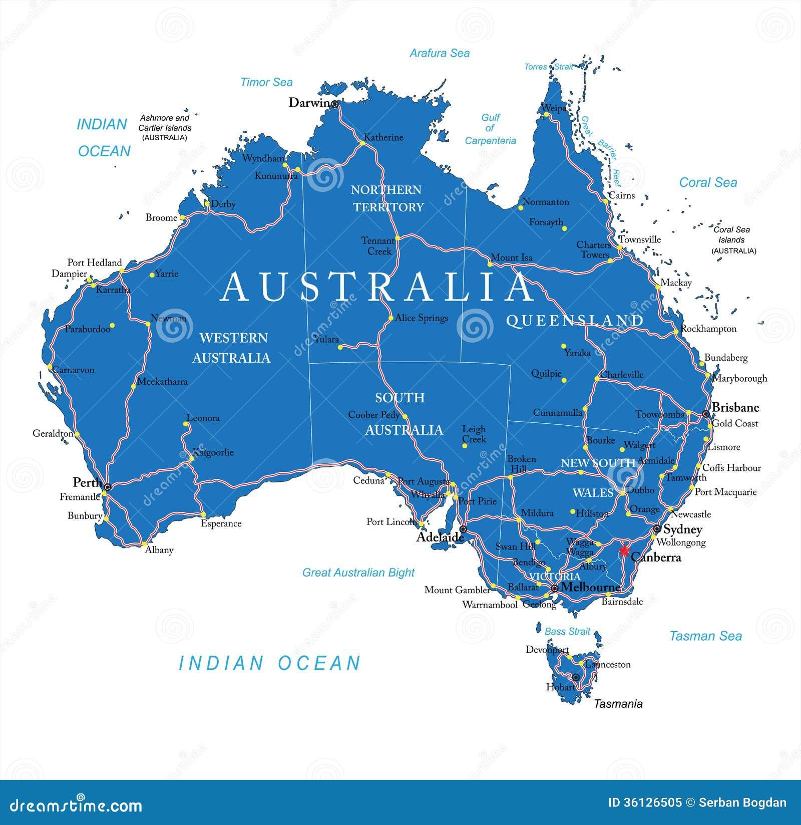 De wegenkaart van Australië