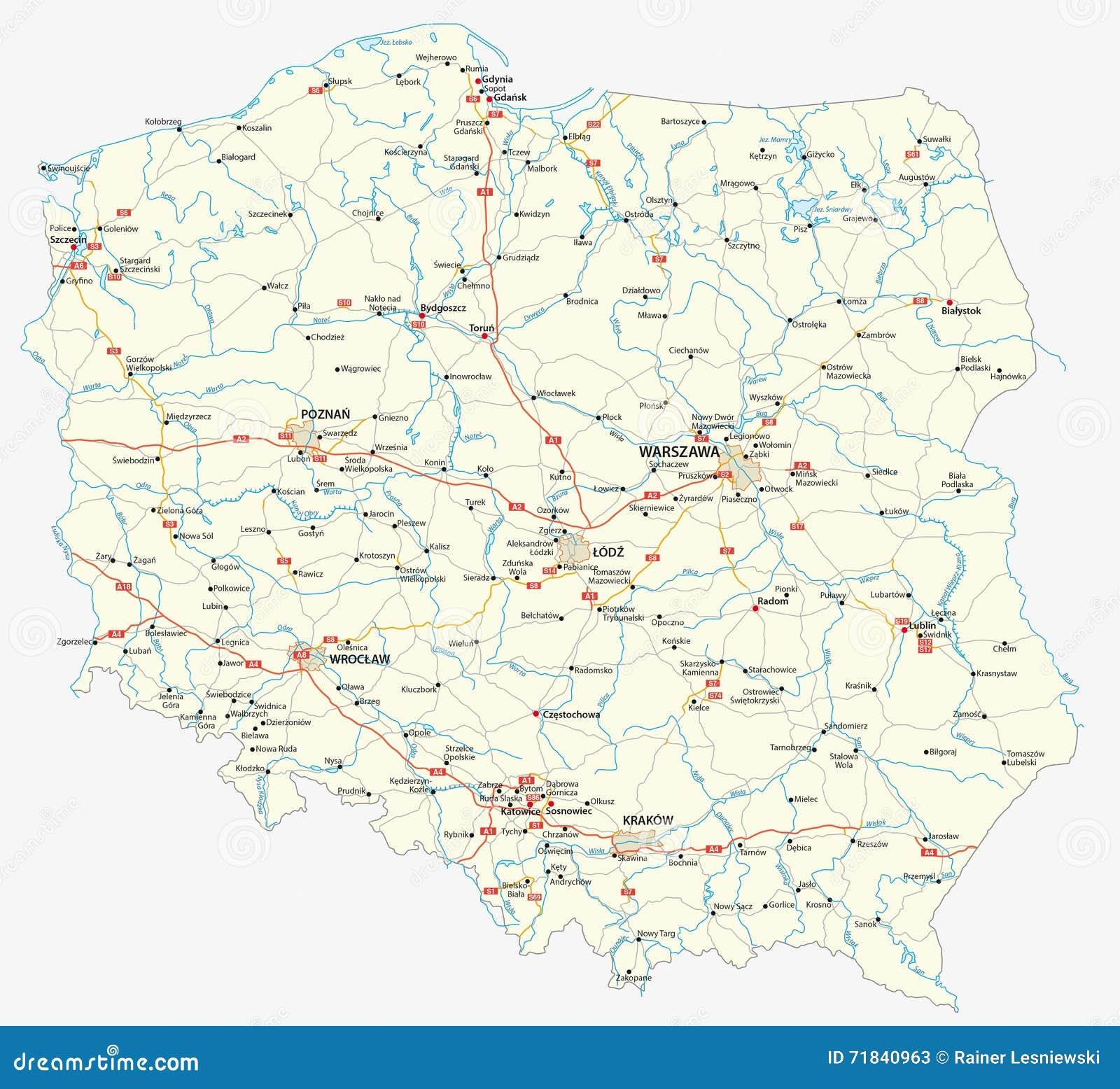 De wegenkaart van Polen