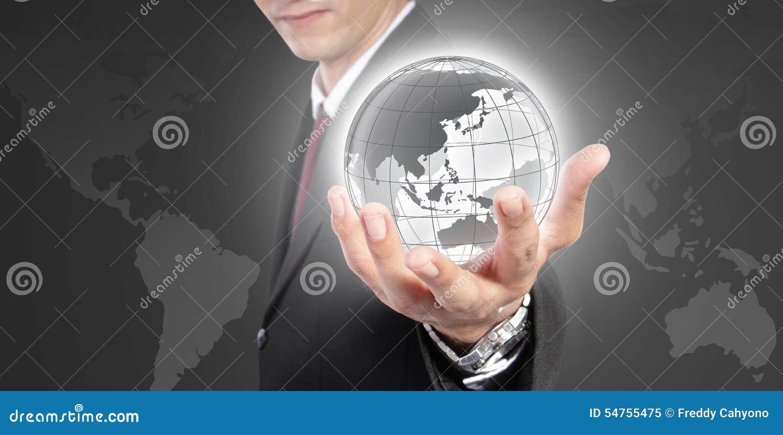 De wereld is in uw hand Een conceptueel bedrijfsbeeld
