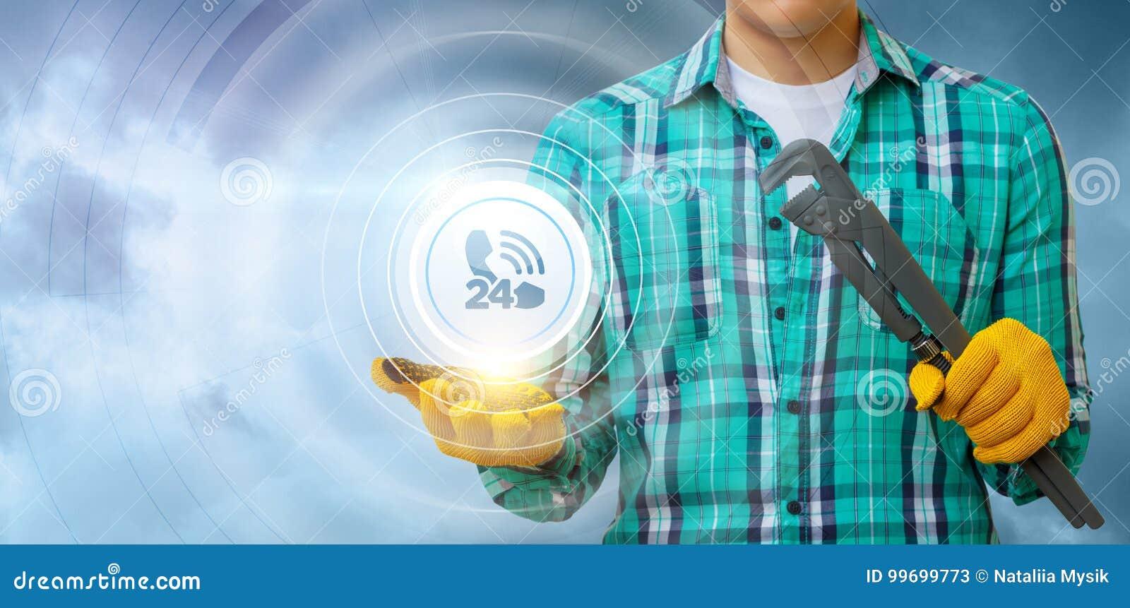 De werktuigkundige toont het pictogram van de klantendienst