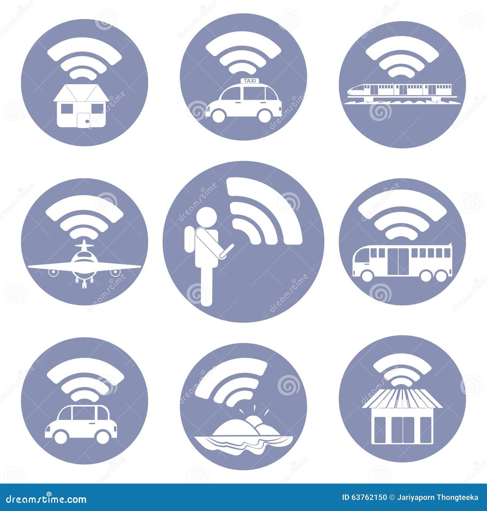 De Wi-Fi de connexion pictogrammes d icône partout